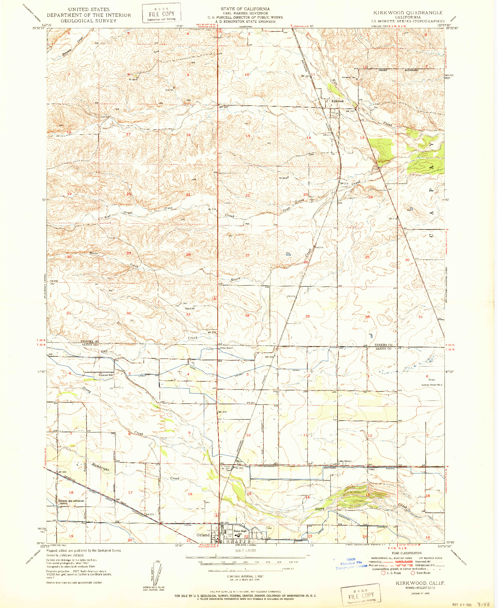 USGS 1:24000-SCALE QUADRANGLE FOR KIRKWOOD, CA 1950