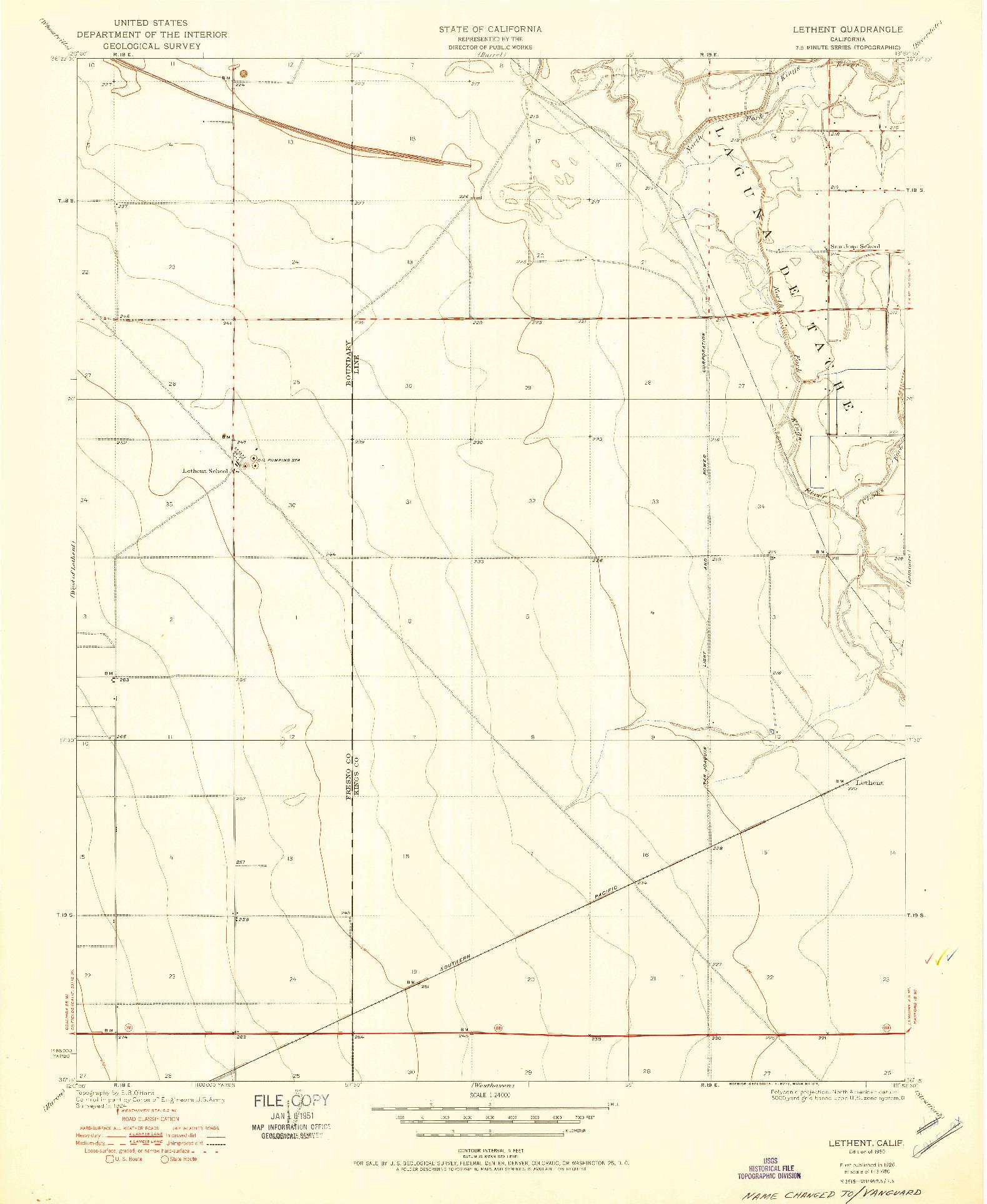 USGS 1:24000-SCALE QUADRANGLE FOR LETHENT, CA 1950