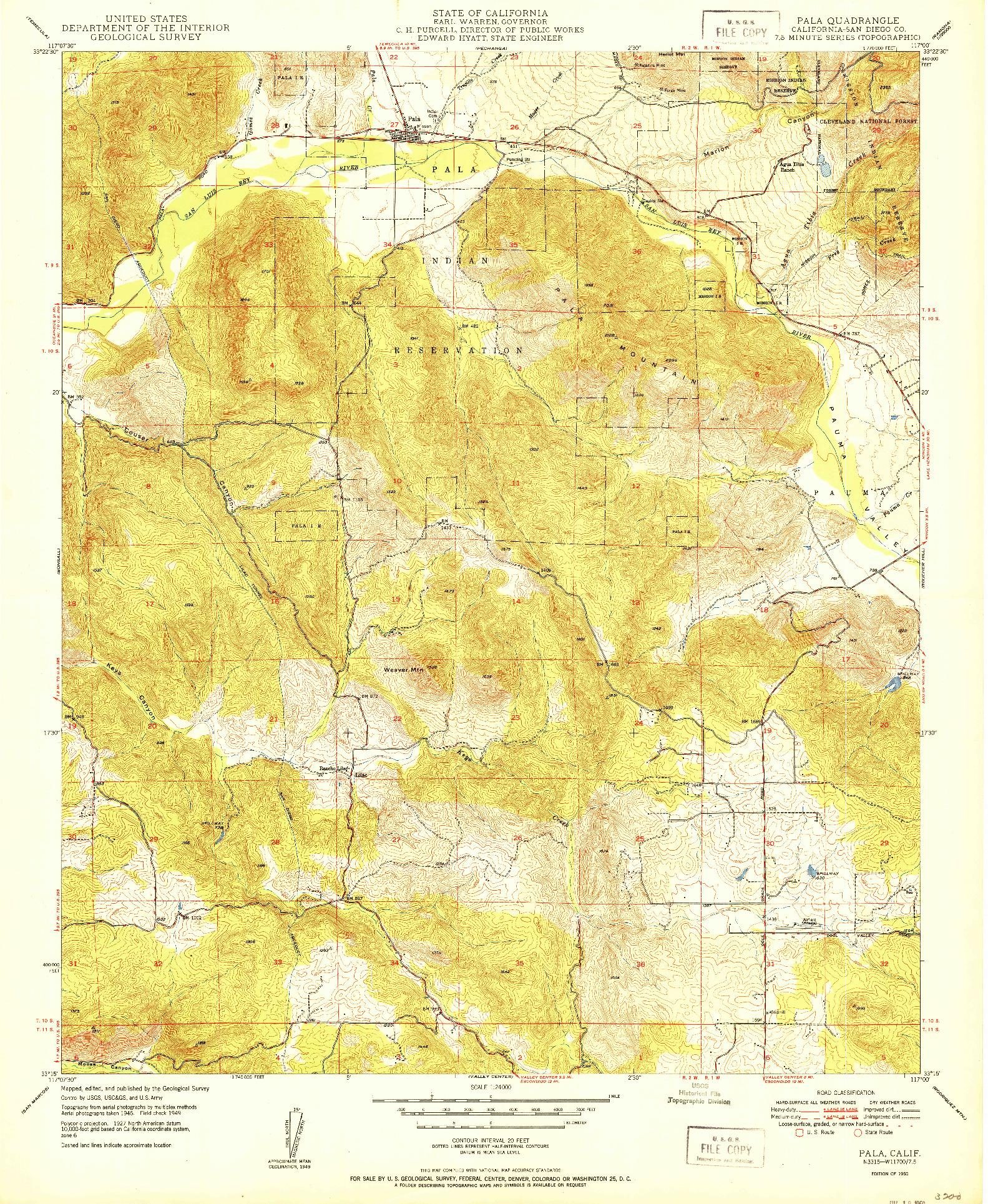 USGS 1:24000-SCALE QUADRANGLE FOR PALA, CA 1950