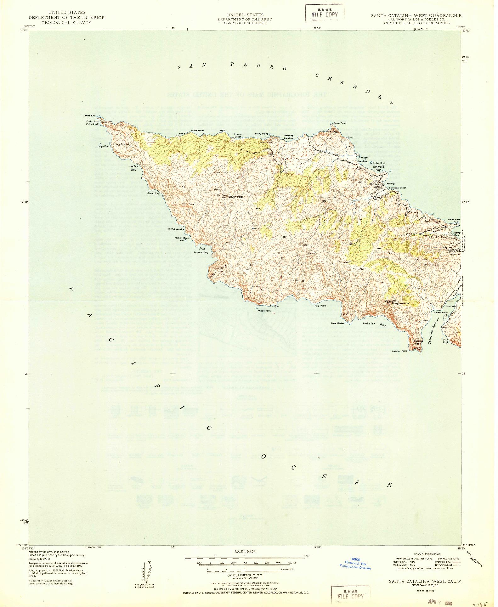 USGS 1:24000-SCALE QUADRANGLE FOR SANTA CATALINA WEST, CA 1950