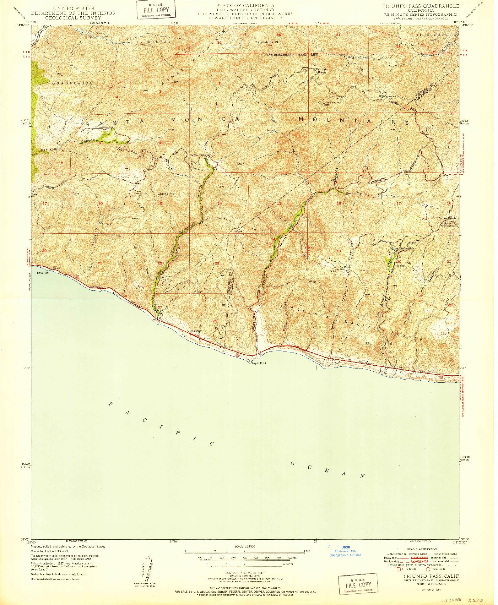 USGS 1:24000-SCALE QUADRANGLE FOR TRIUNFO PASS, CA 1950
