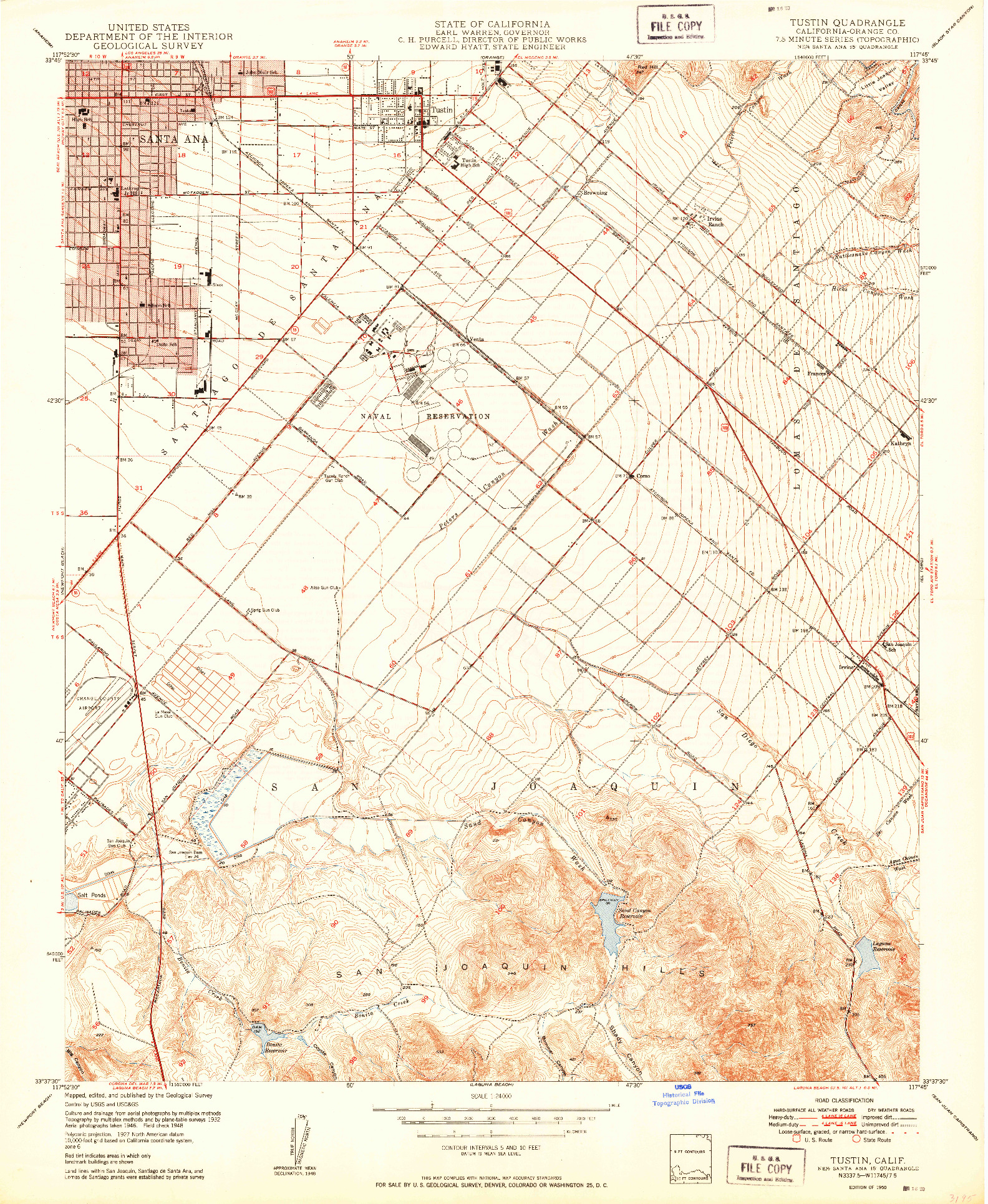 USGS 1:24000-SCALE QUADRANGLE FOR TUSTIN, CA 1950