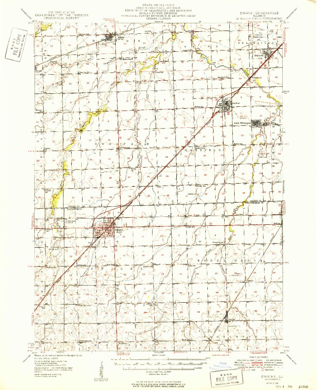 USGS 1:62500-SCALE QUADRANGLE FOR DWIGHT, IL 1950