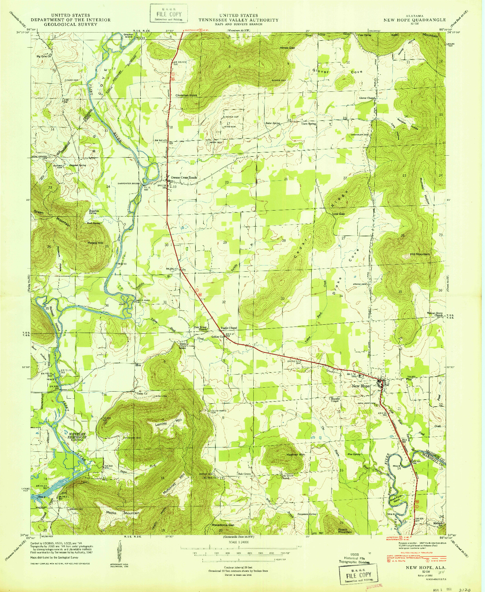 USGS 1:24000-SCALE QUADRANGLE FOR NEW HOPE, AL 1950