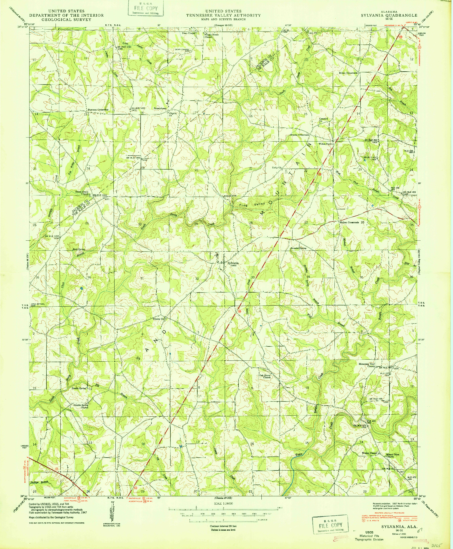 USGS 1:24000-SCALE QUADRANGLE FOR SYLVANIA, AL 1950