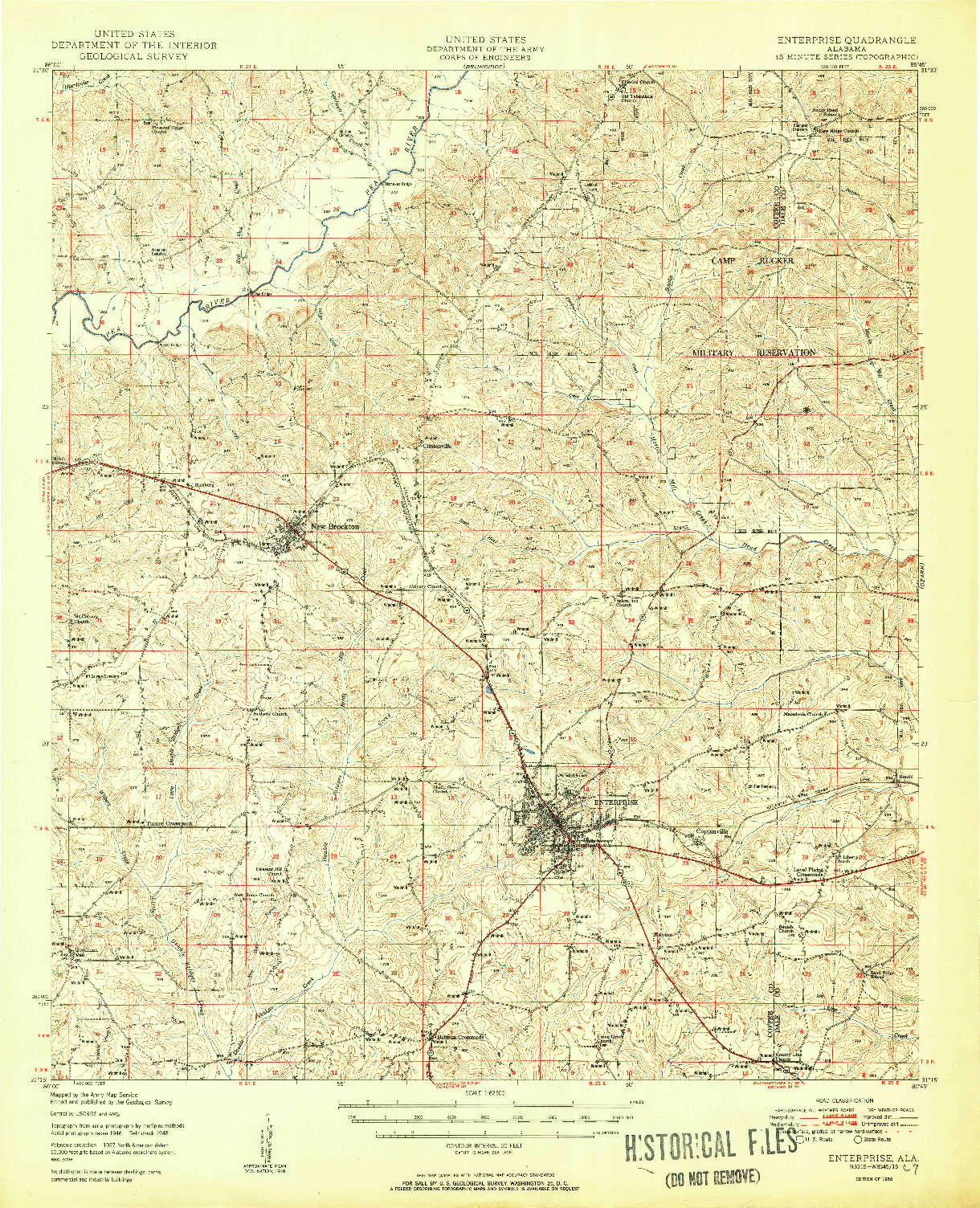 USGS 1:62500-SCALE QUADRANGLE FOR ENTERPRISE, AL 1950