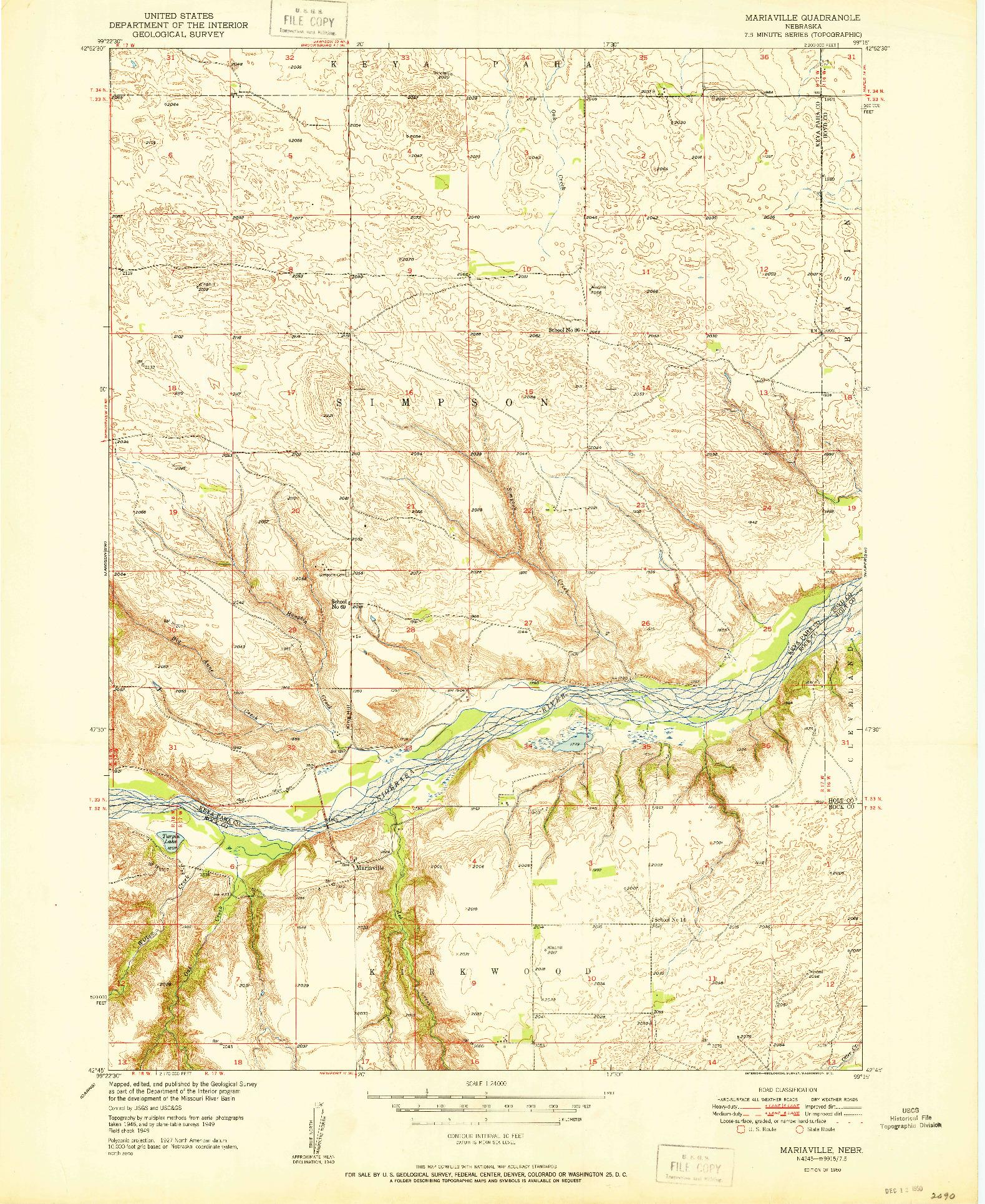 USGS 1:24000-SCALE QUADRANGLE FOR MARIAVILLE, NE 1950