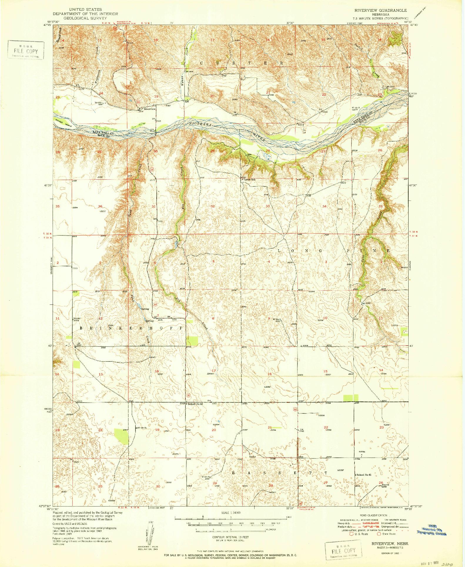 USGS 1:24000-SCALE QUADRANGLE FOR RIVERVIEW, NE 1950