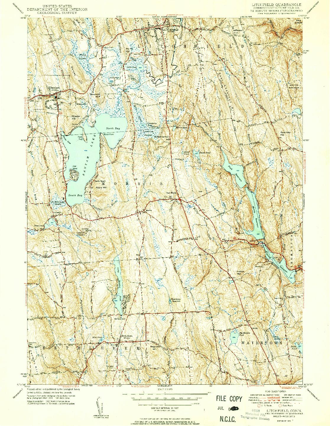 USGS 1:31680-SCALE QUADRANGLE FOR LITCHFIELD, CT 1950