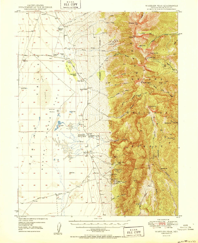 USGS 1:62500-SCALE QUADRANGLE FOR WHEELER PEAK, NV 1950