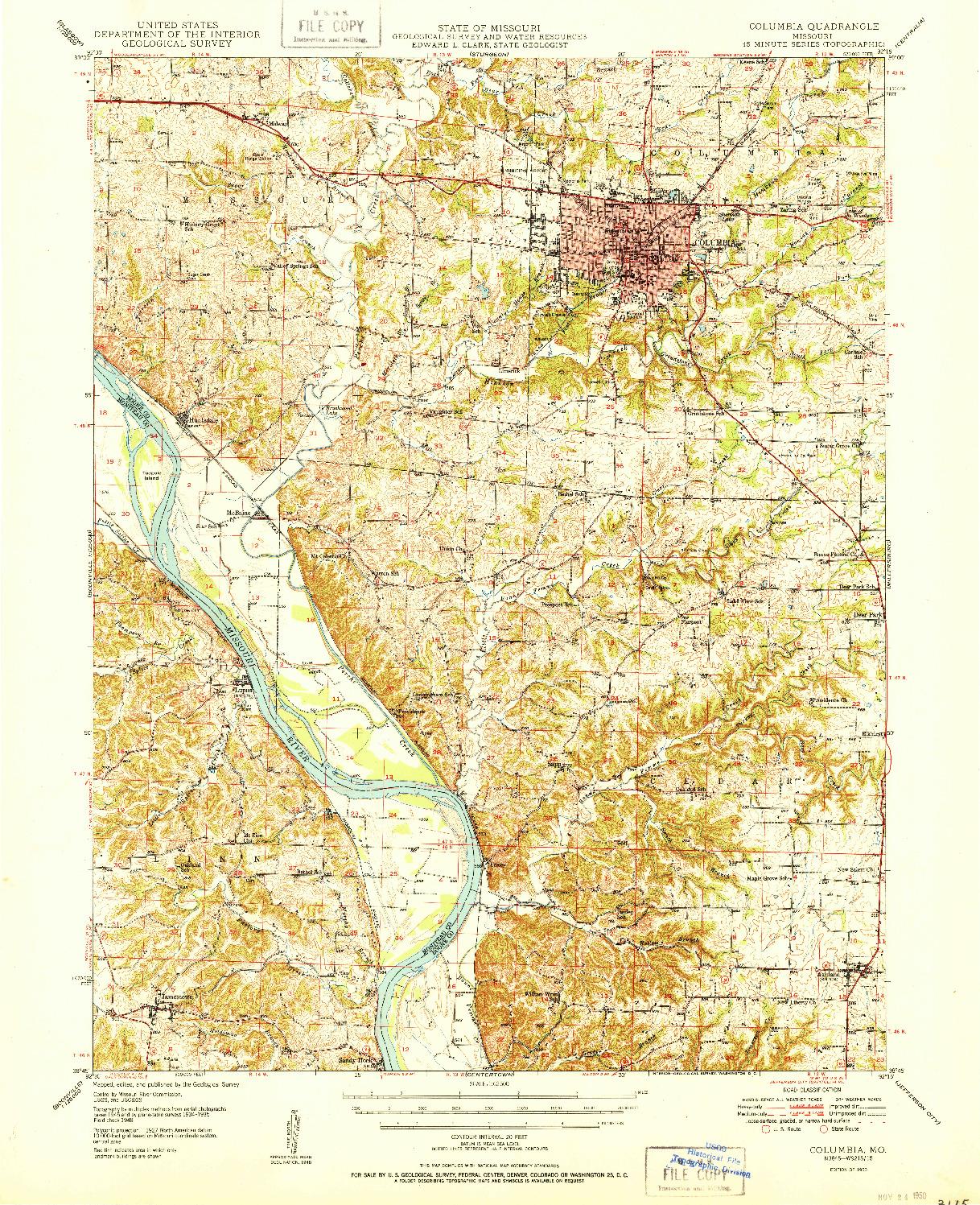 USGS 1:62500-SCALE QUADRANGLE FOR COLUMBIA, MO 1950