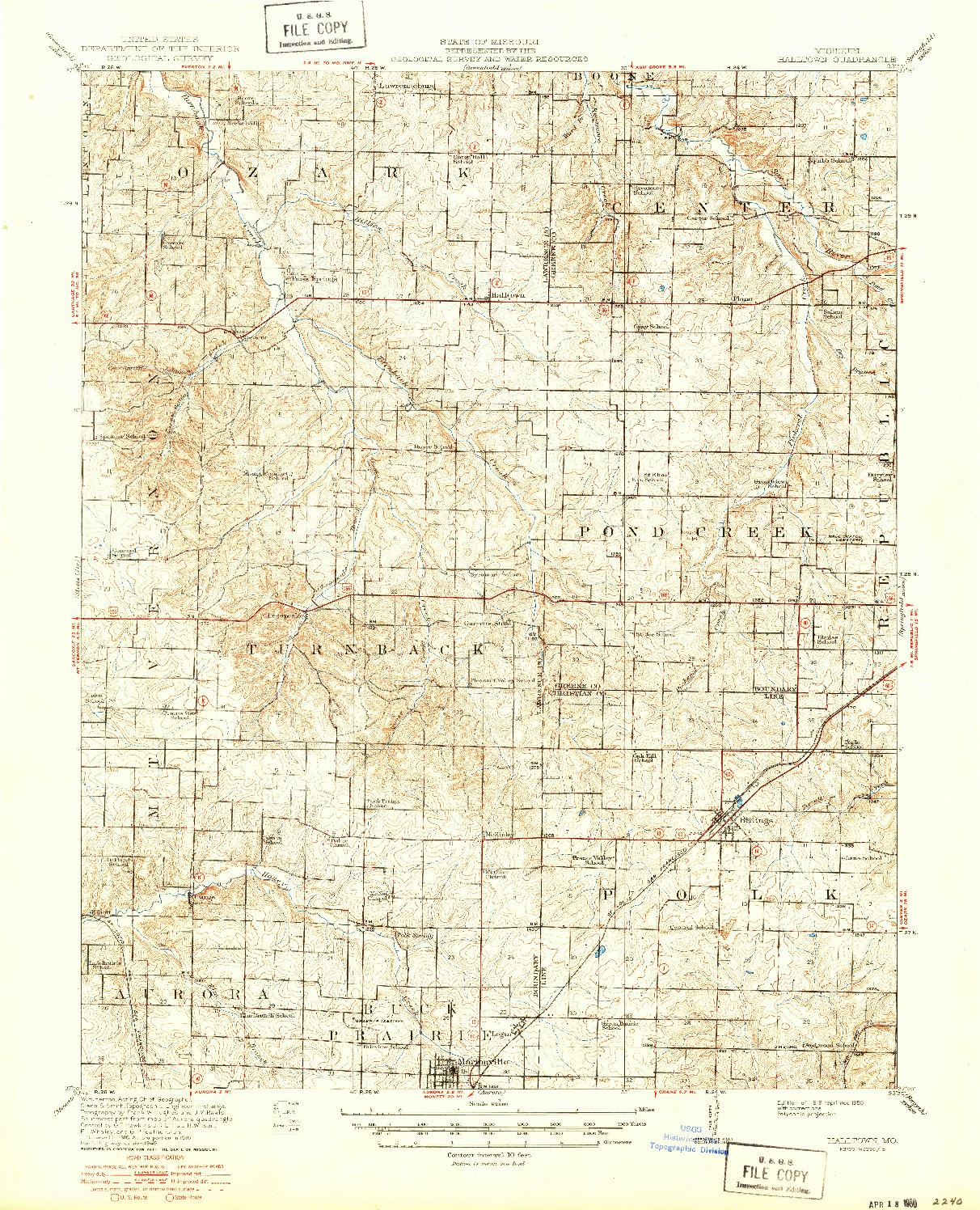 USGS 1:62500-SCALE QUADRANGLE FOR HALLTOWN, MO 1919