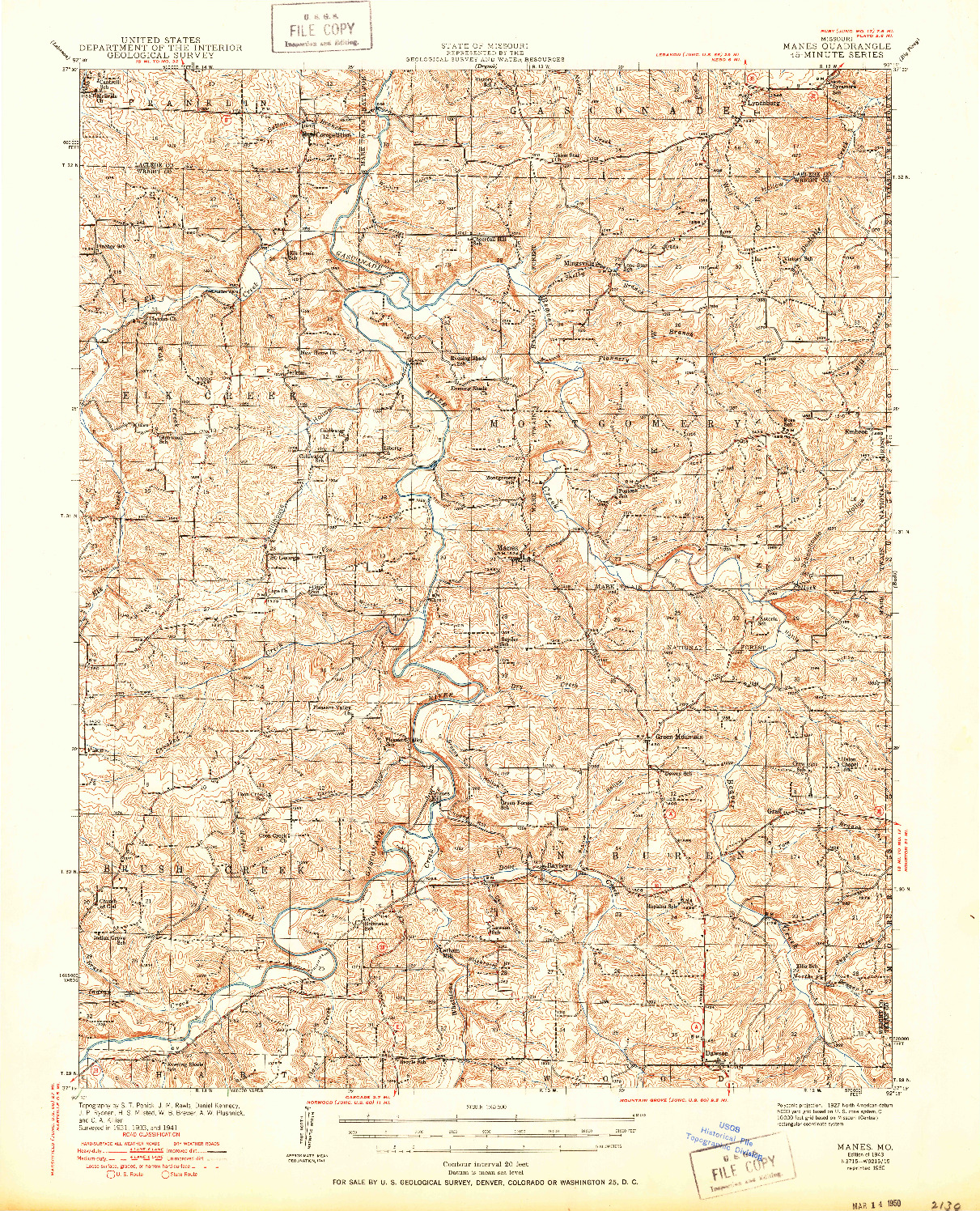 USGS 1:62500-SCALE QUADRANGLE FOR MANES, MO 1943