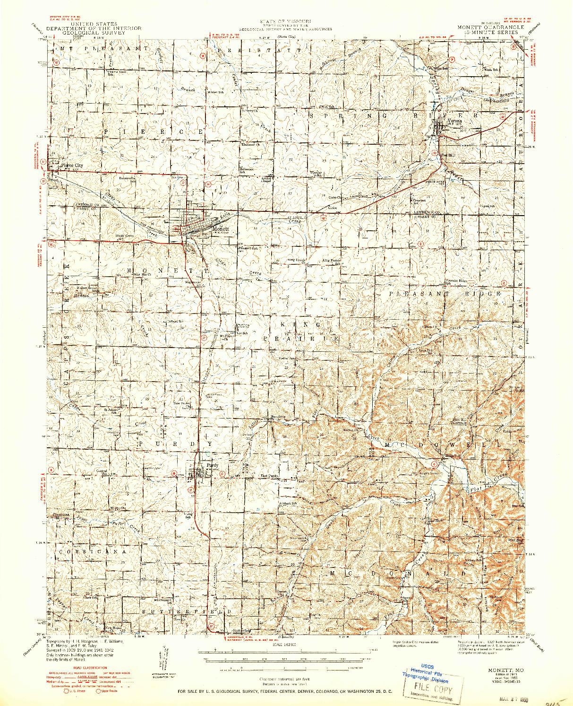 USGS 1:62500-SCALE QUADRANGLE FOR MONETT, MO 1943