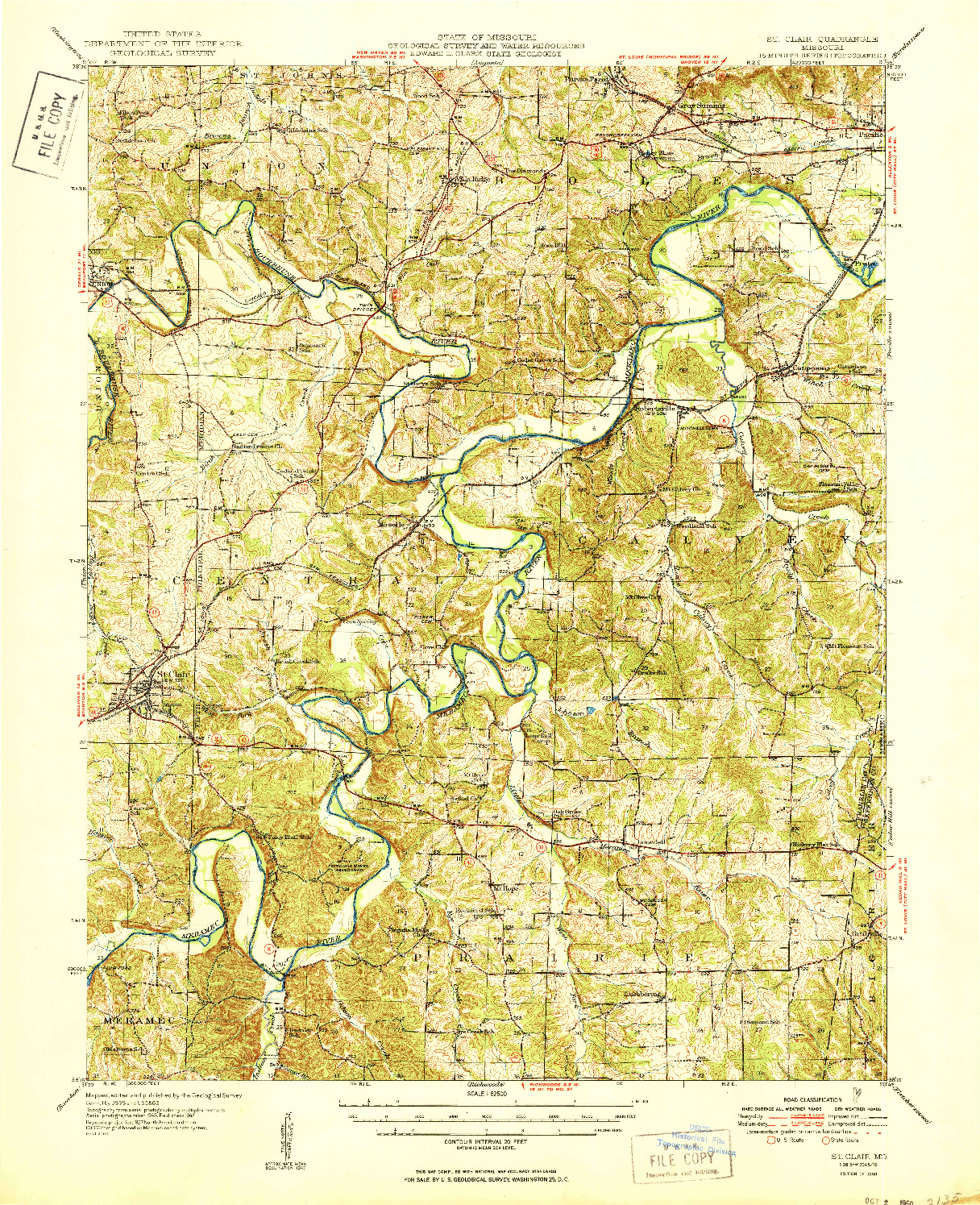 USGS 1:62500-SCALE QUADRANGLE FOR ST. CLAIR, MO 1950