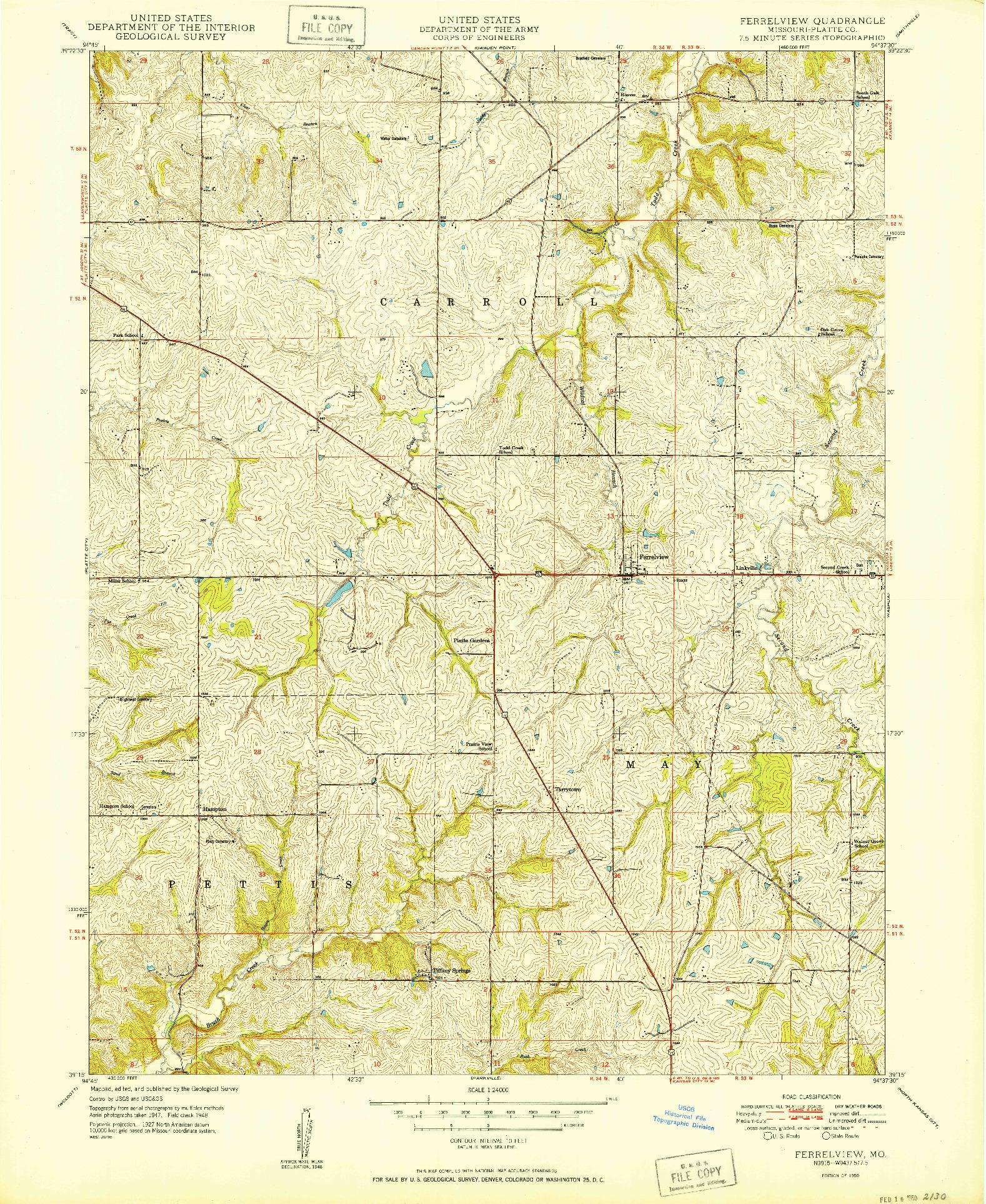 USGS 1:24000-SCALE QUADRANGLE FOR FERRELVIEW, MO 1950