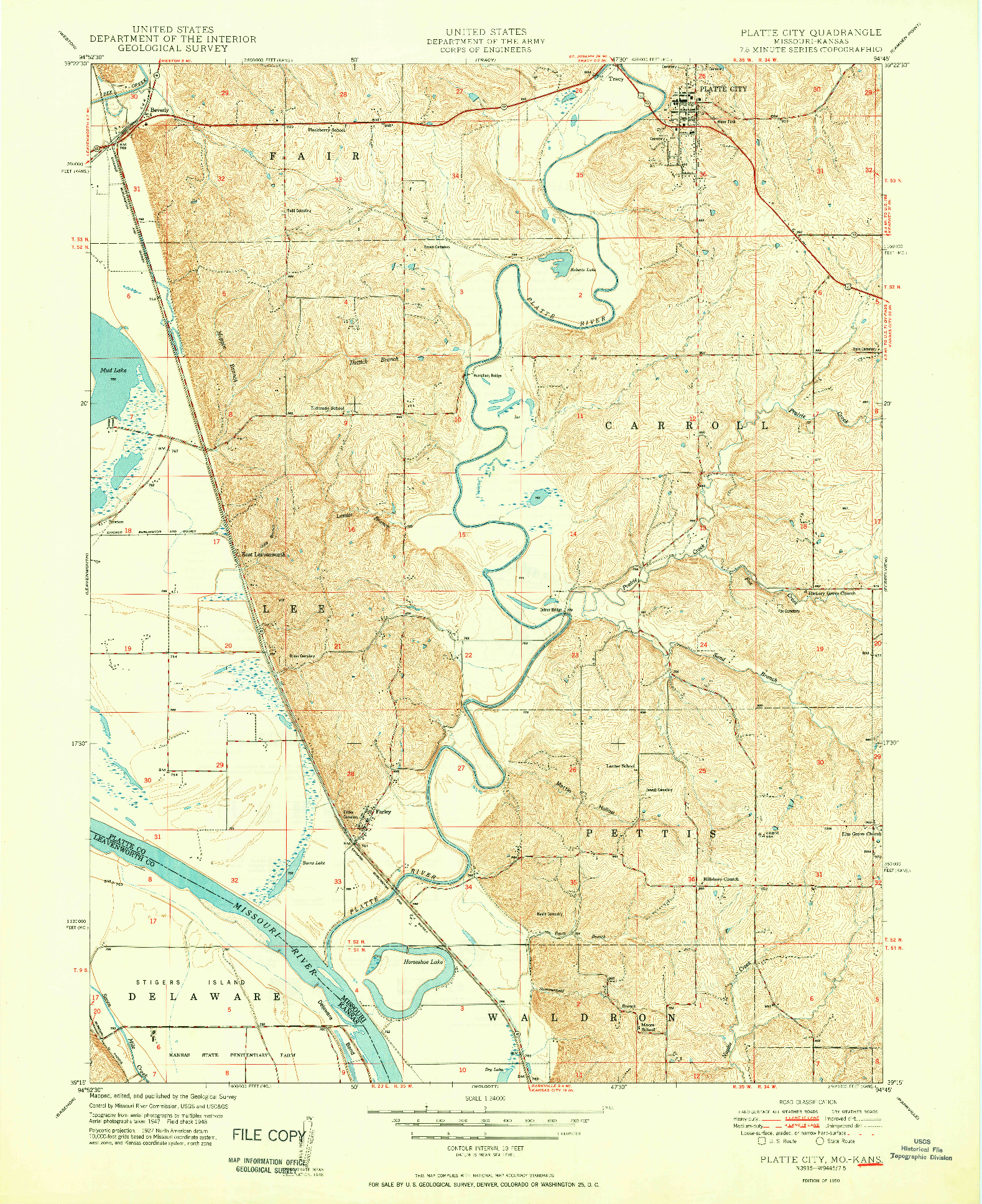 USGS 1:24000-SCALE QUADRANGLE FOR PLATTE CITY, MO 1950