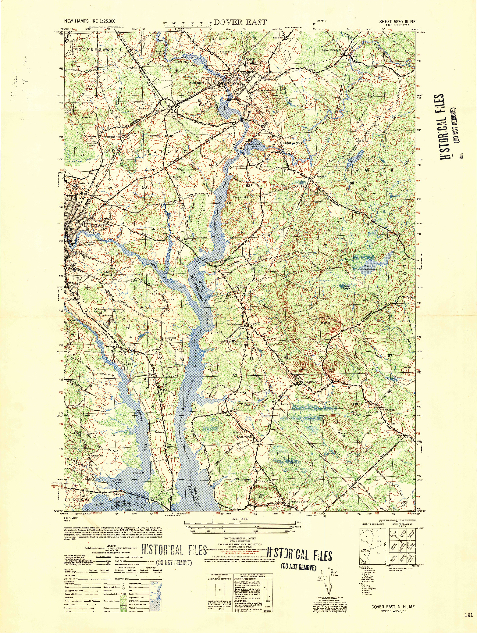 USGS 1:25000-SCALE QUADRANGLE FOR DOVER EAST, NH 1950