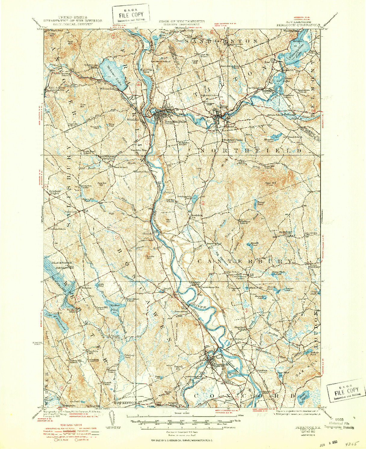 USGS 1:62500-SCALE QUADRANGLE FOR PENACOOK, NH 1927