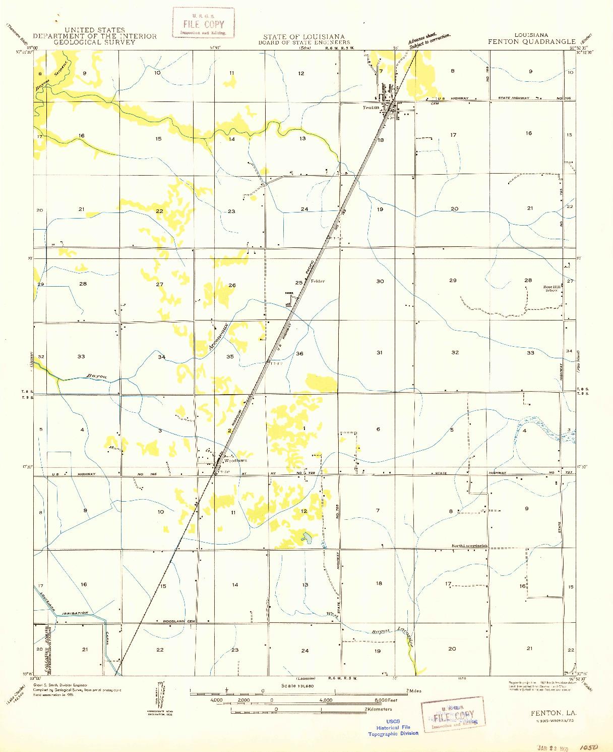 USGS 1:31680-SCALE QUADRANGLE FOR FENTON, LA 1950