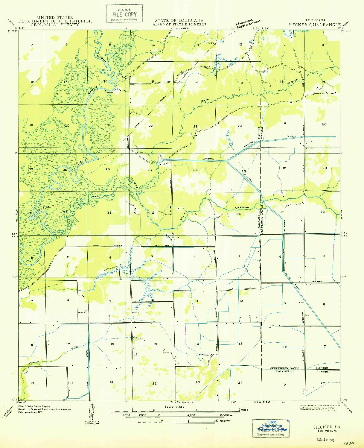 USGS 1:31680-SCALE QUADRANGLE FOR HECKER, LA 1950