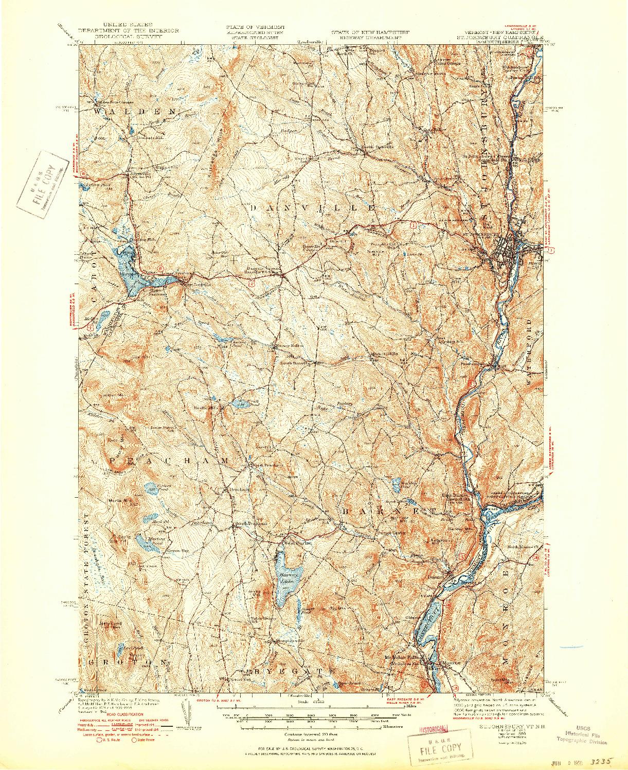 USGS 1:62500-SCALE QUADRANGLE FOR ST. JOHNSBURY, VT 1943