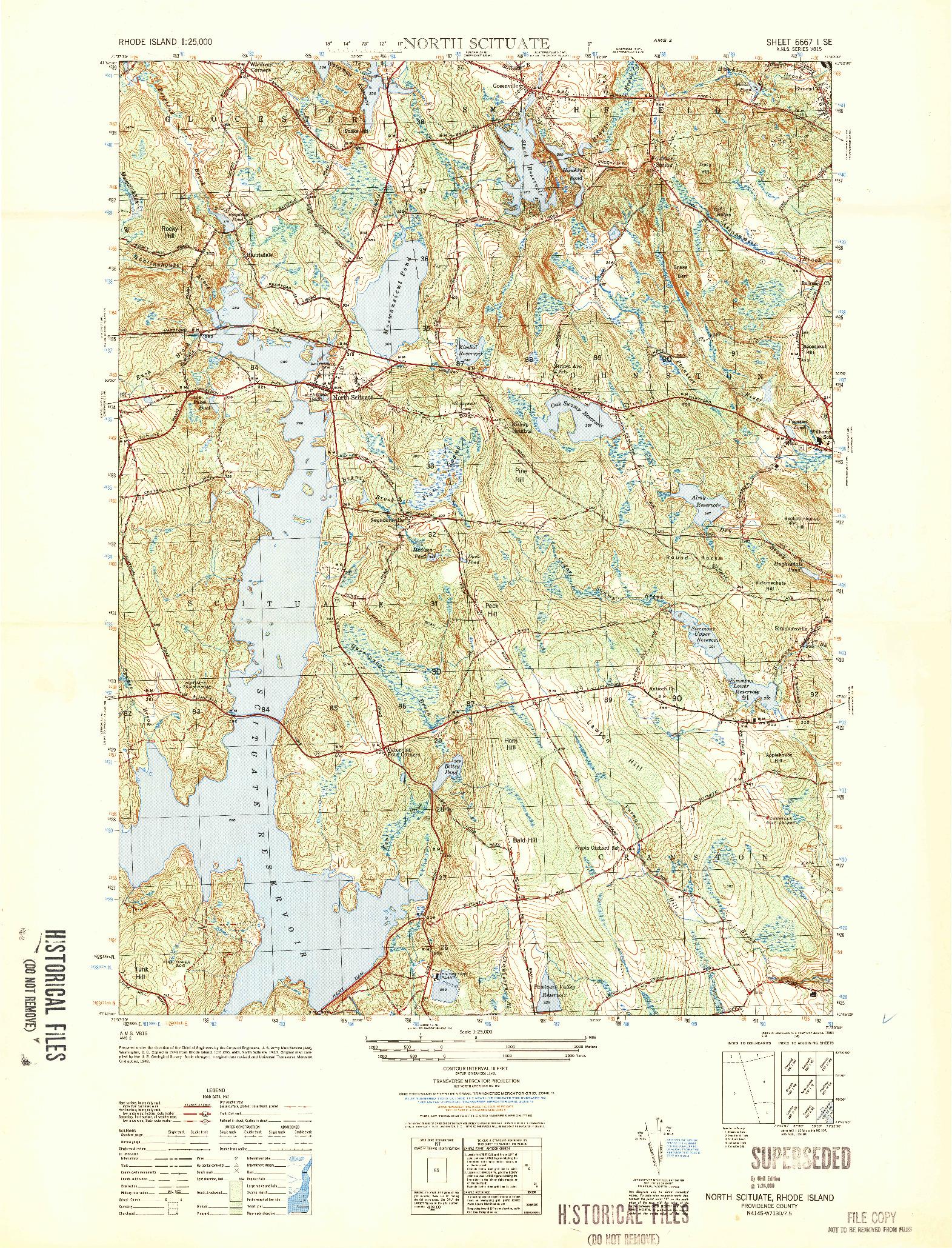 USGS 1:25000-SCALE QUADRANGLE FOR NORTH SCITUATE, RI 1950