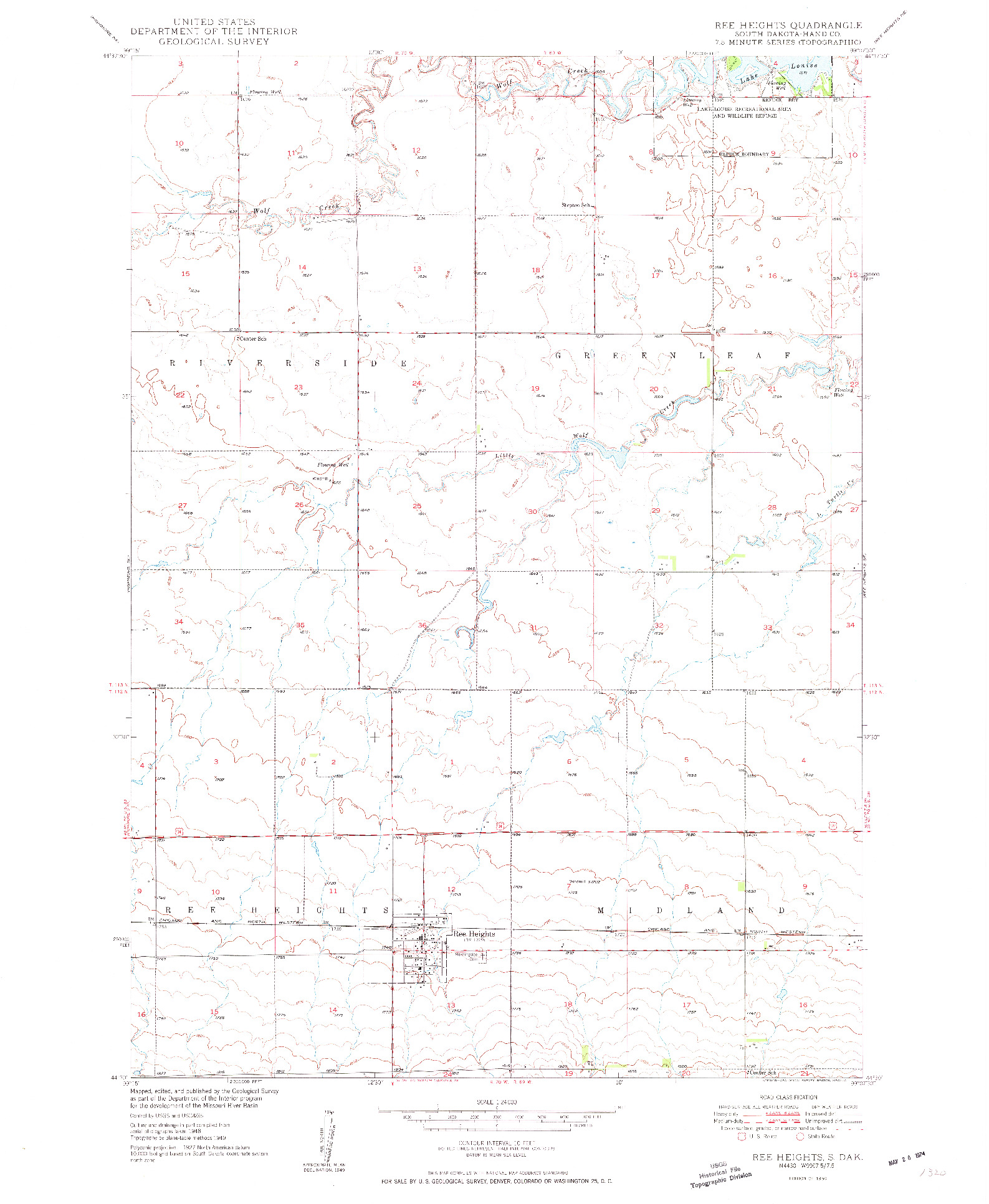 USGS 1:24000-SCALE QUADRANGLE FOR REE HEIGHTS, SD 1950