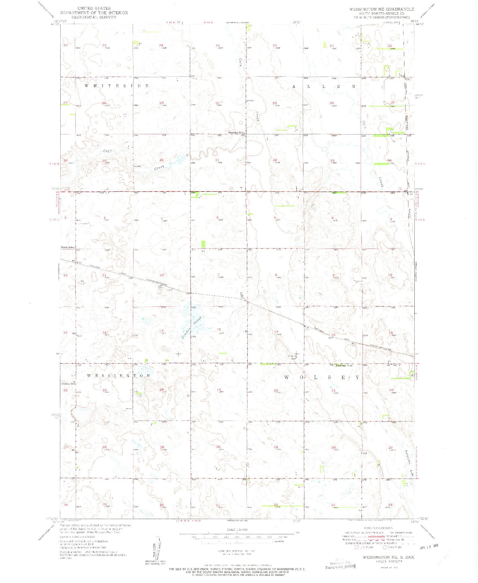 USGS 1:24000-SCALE QUADRANGLE FOR WESSINGTON NE, SD 1950