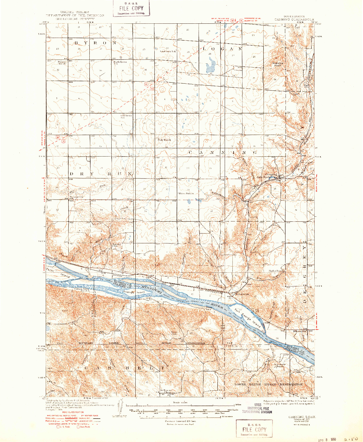 USGS 1:62500-SCALE QUADRANGLE FOR CANNING, SD 1937
