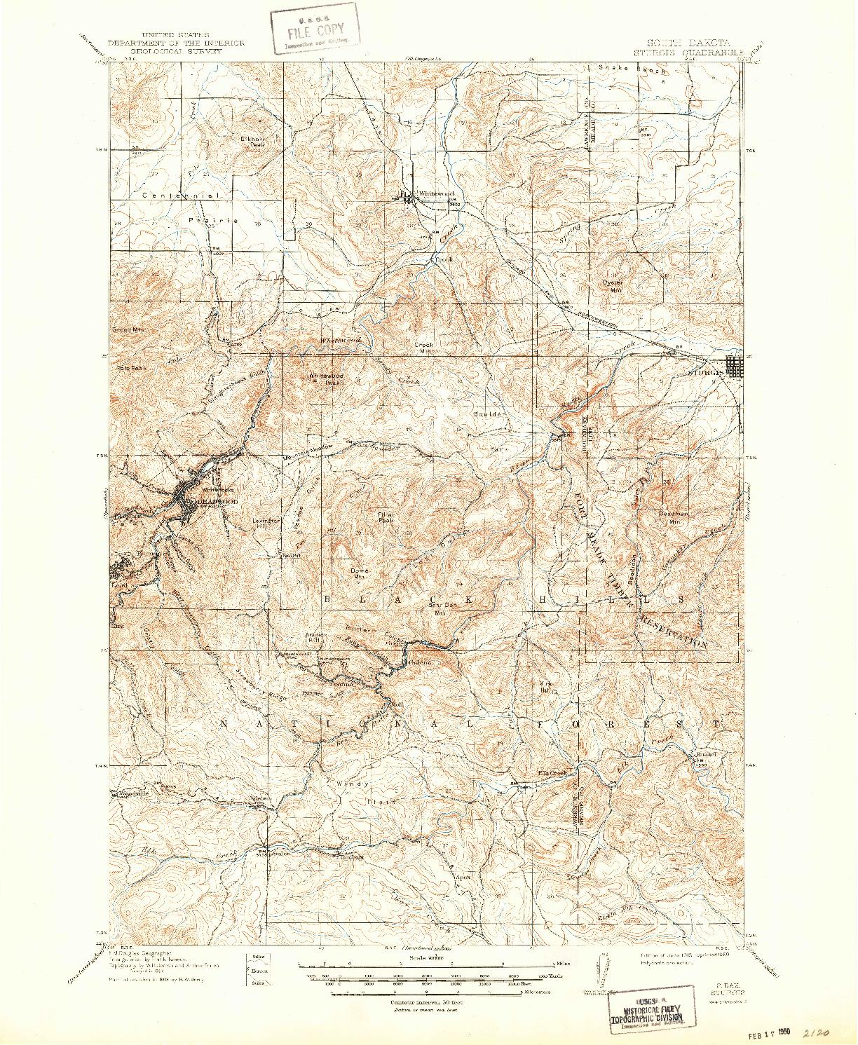 USGS 1:62500-SCALE QUADRANGLE FOR STURGIS, SD 1915