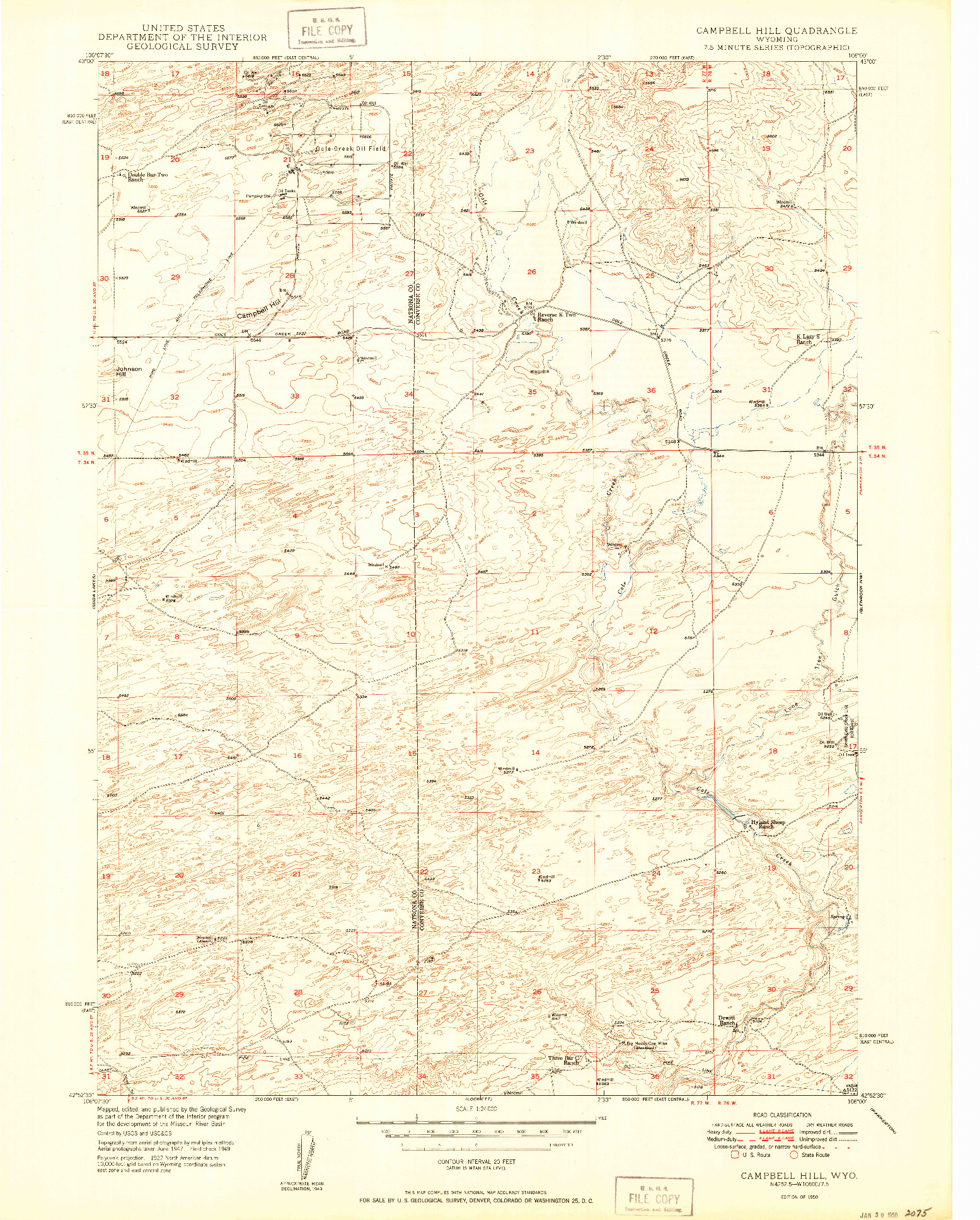 USGS 1:24000-SCALE QUADRANGLE FOR CAMPBELL HILL, WY 1950