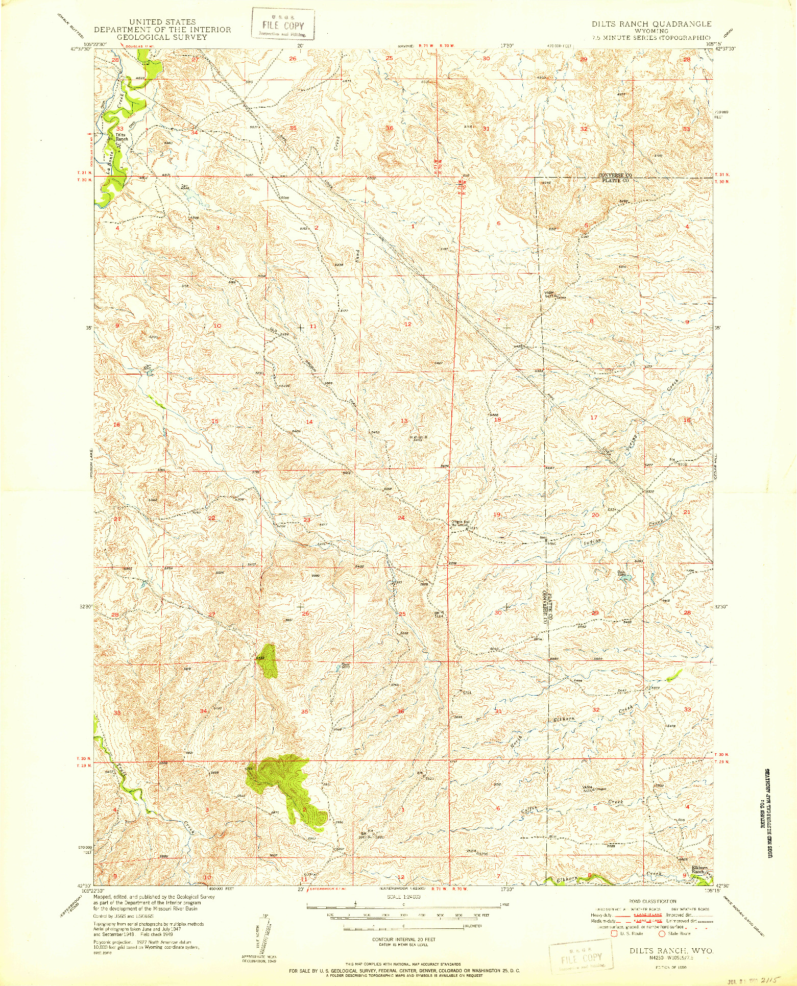 USGS 1:24000-SCALE QUADRANGLE FOR DILTS RANCH, WY 1950