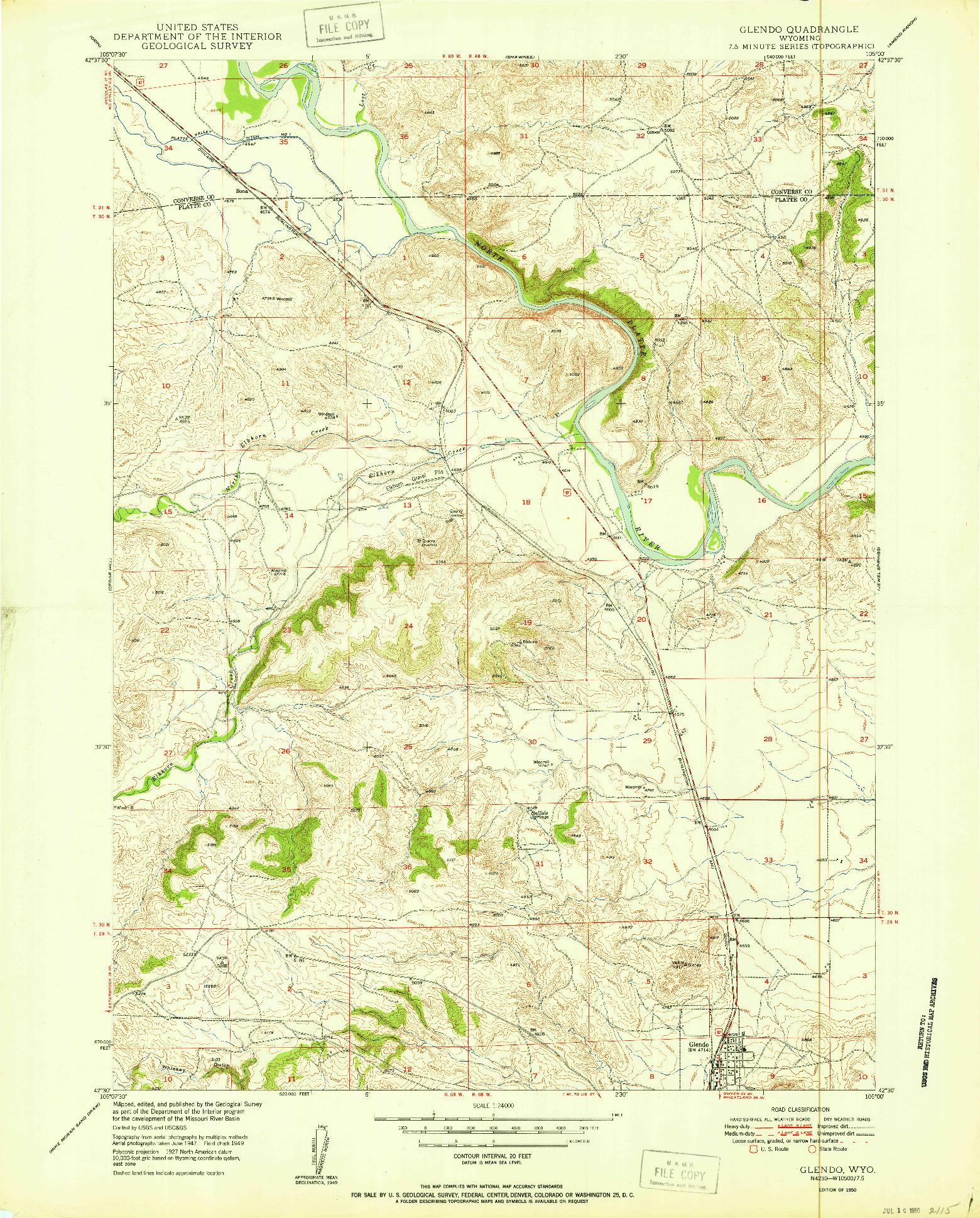 USGS 1:24000-SCALE QUADRANGLE FOR GLENDO, WY 1950