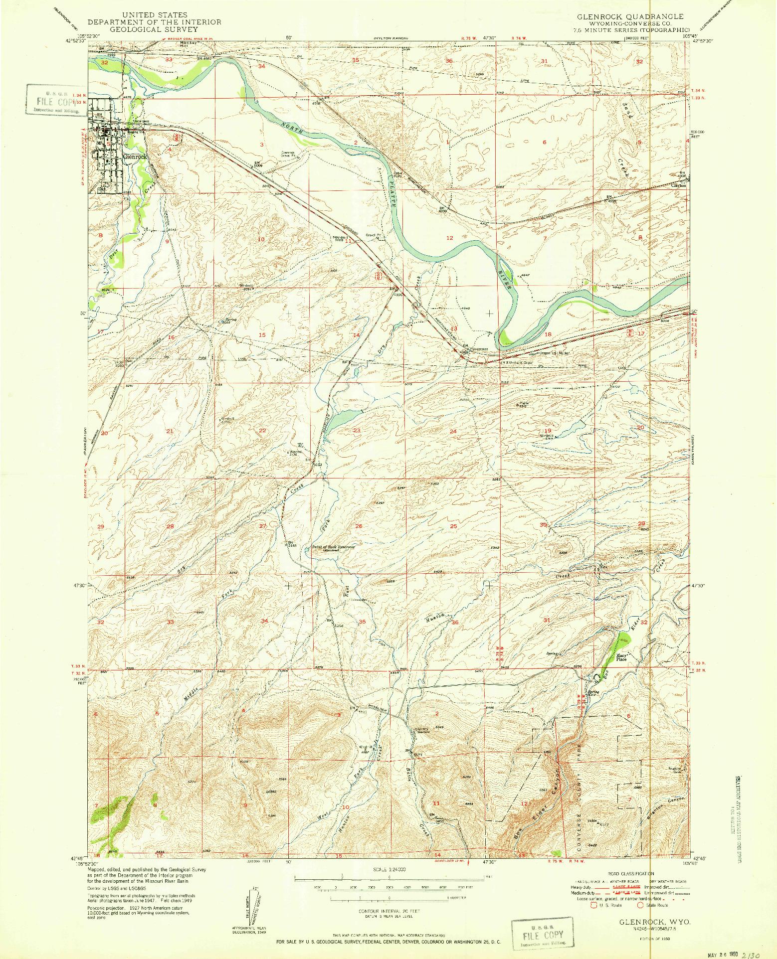 USGS 1:24000-SCALE QUADRANGLE FOR GLENROCK, WY 1950