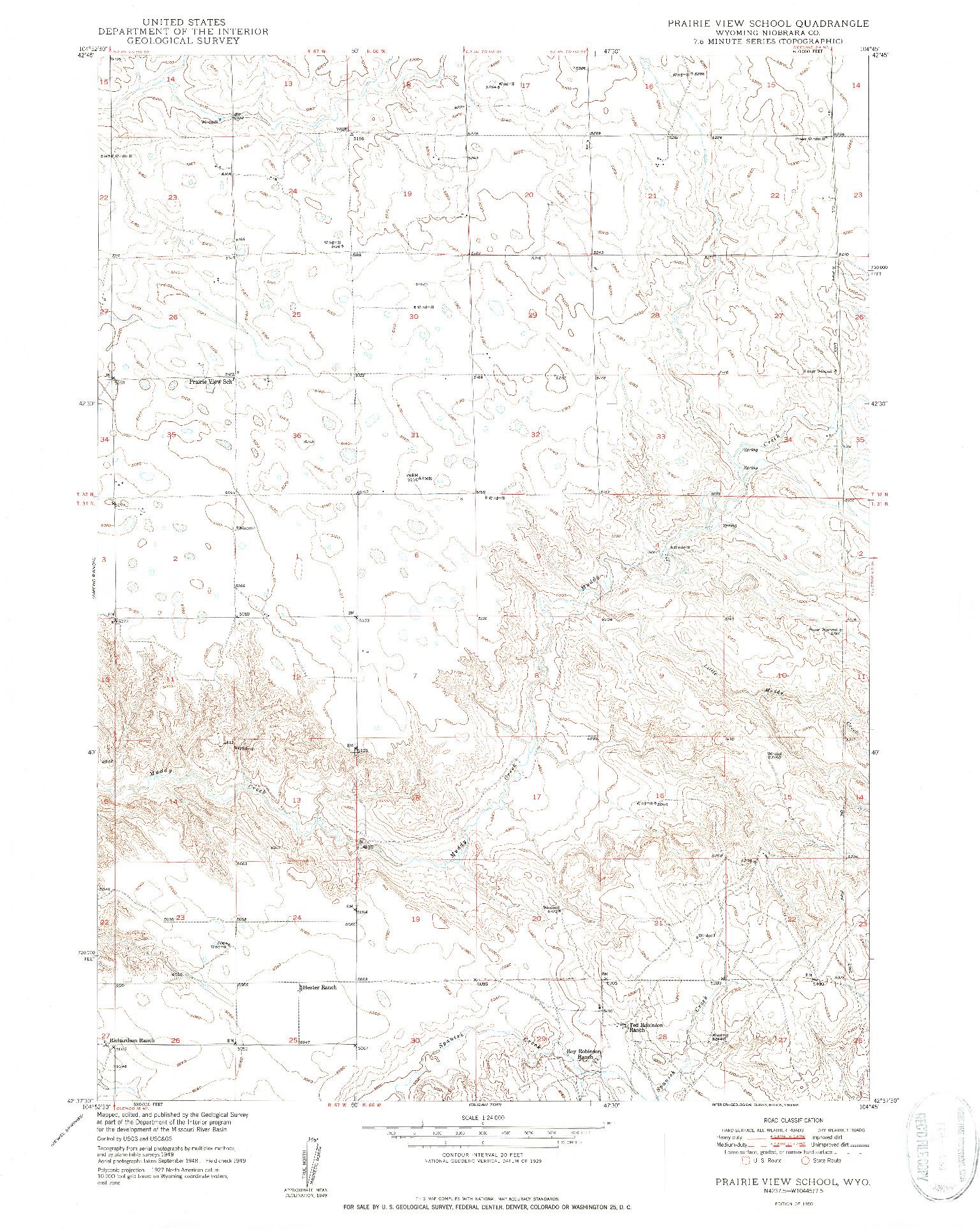 USGS 1:24000-SCALE QUADRANGLE FOR PRAIRIE VIEW SCHOOL, WY 1950