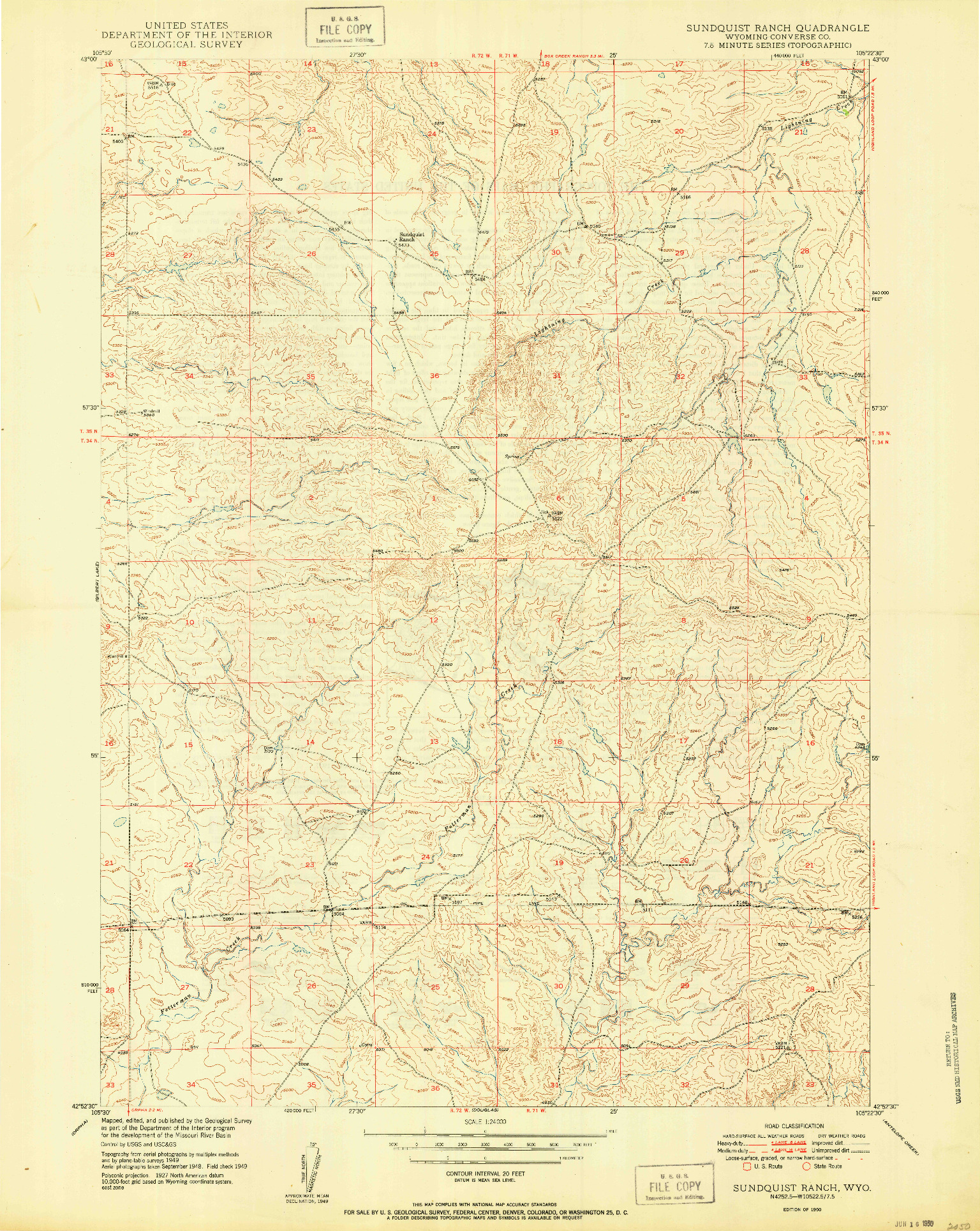 USGS 1:24000-SCALE QUADRANGLE FOR SUNDQUIST RANCH, WY 1950