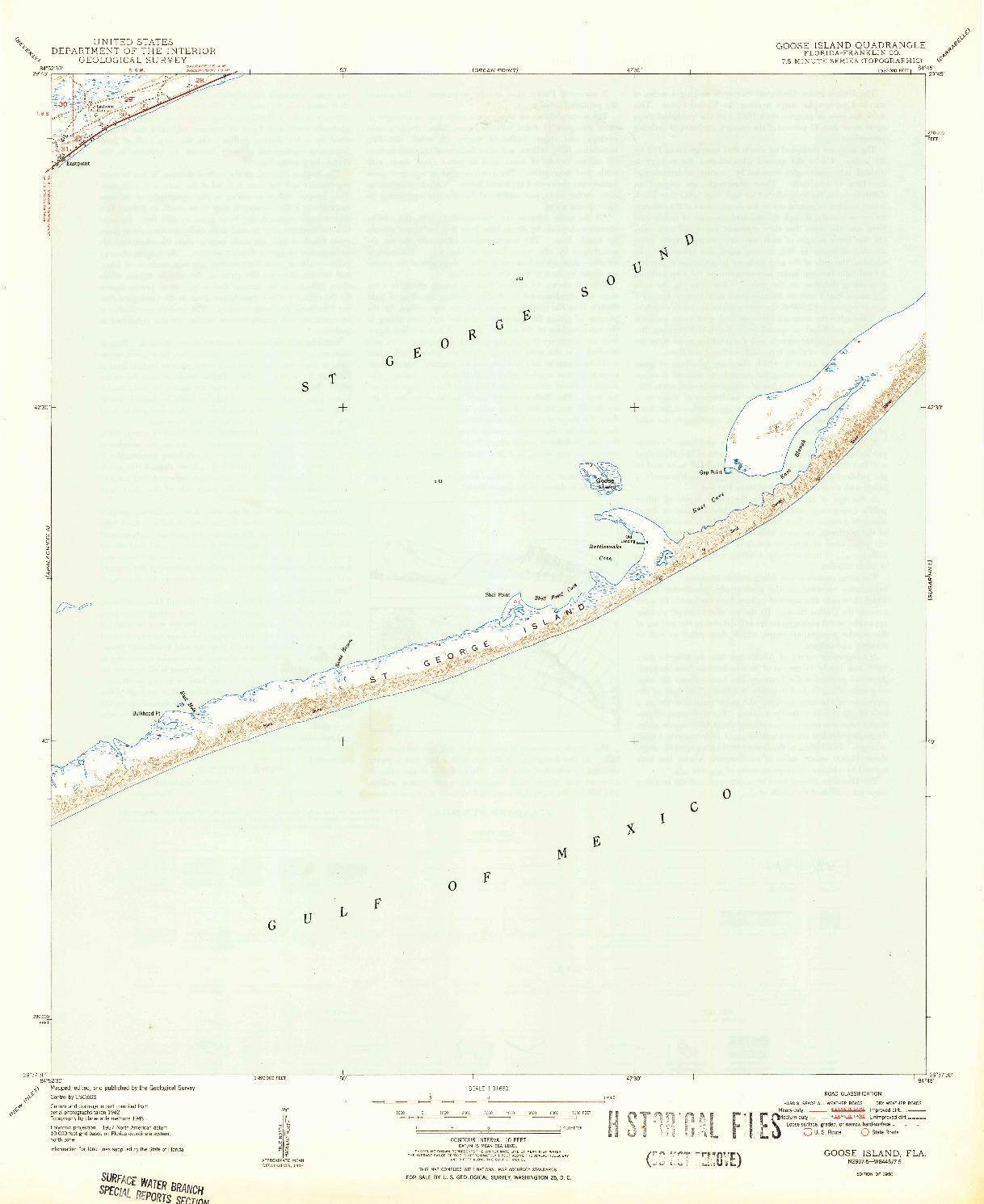 USGS 1:31680-SCALE QUADRANGLE FOR GOOSE ISLAND, FL 1950