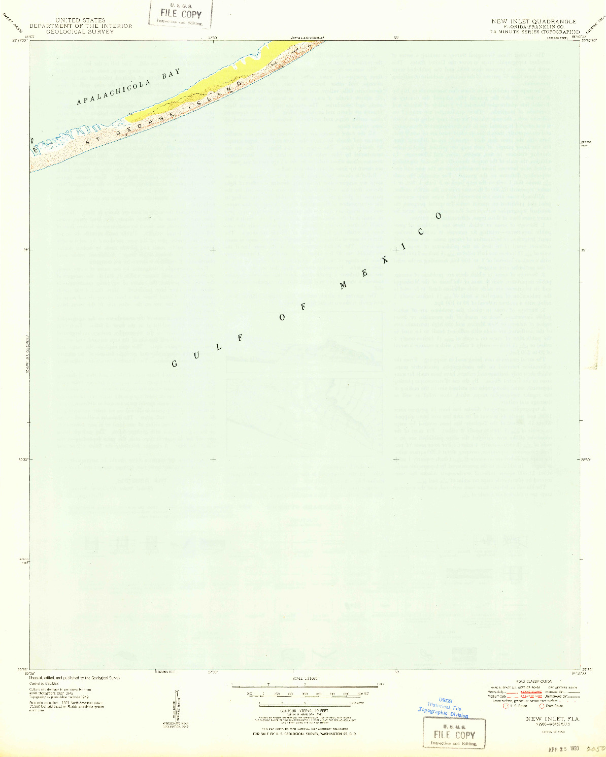 USGS 1:31680-SCALE QUADRANGLE FOR NEW INLET, FL 1950