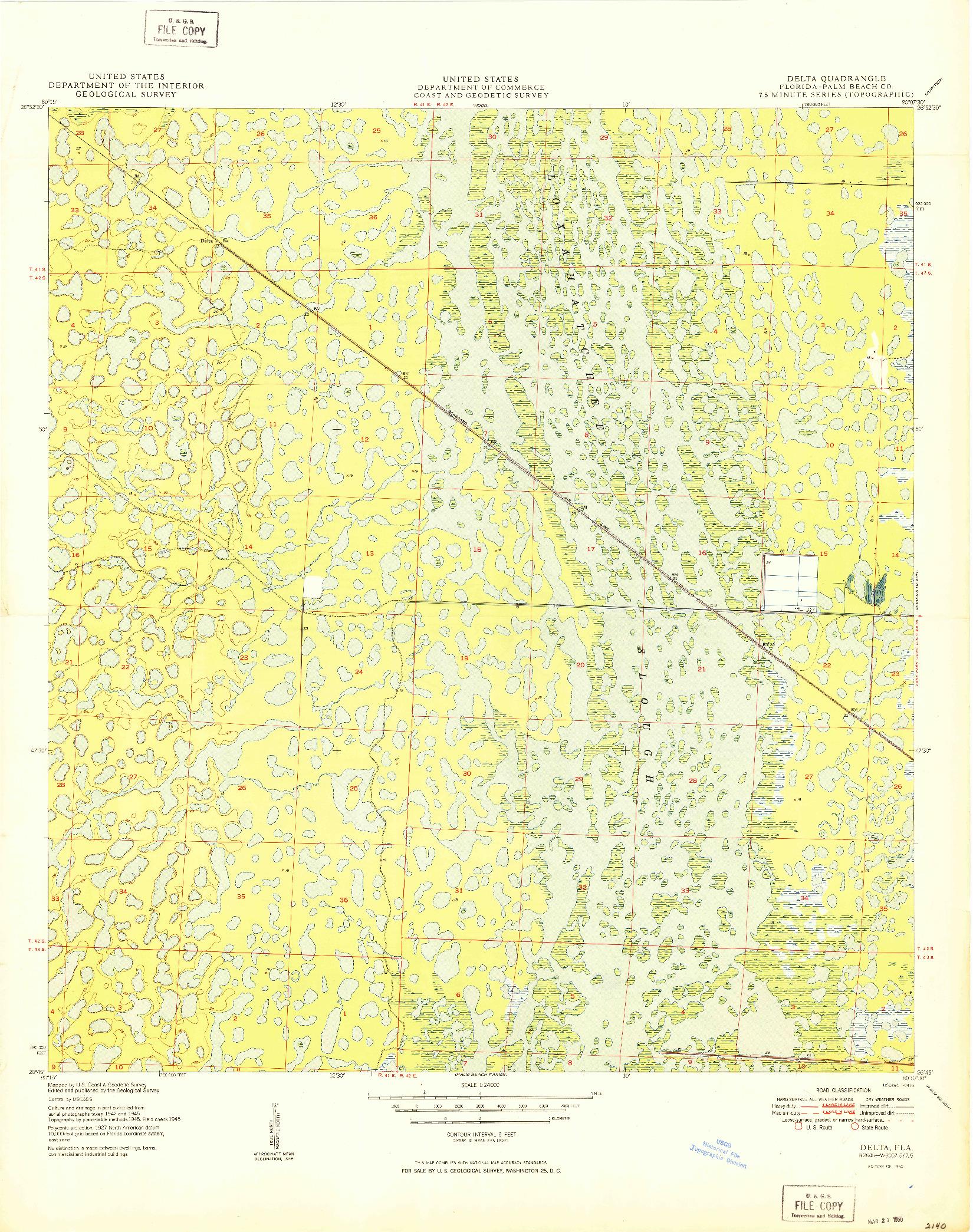 USGS 1:24000-SCALE QUADRANGLE FOR DELTA, FL 1950
