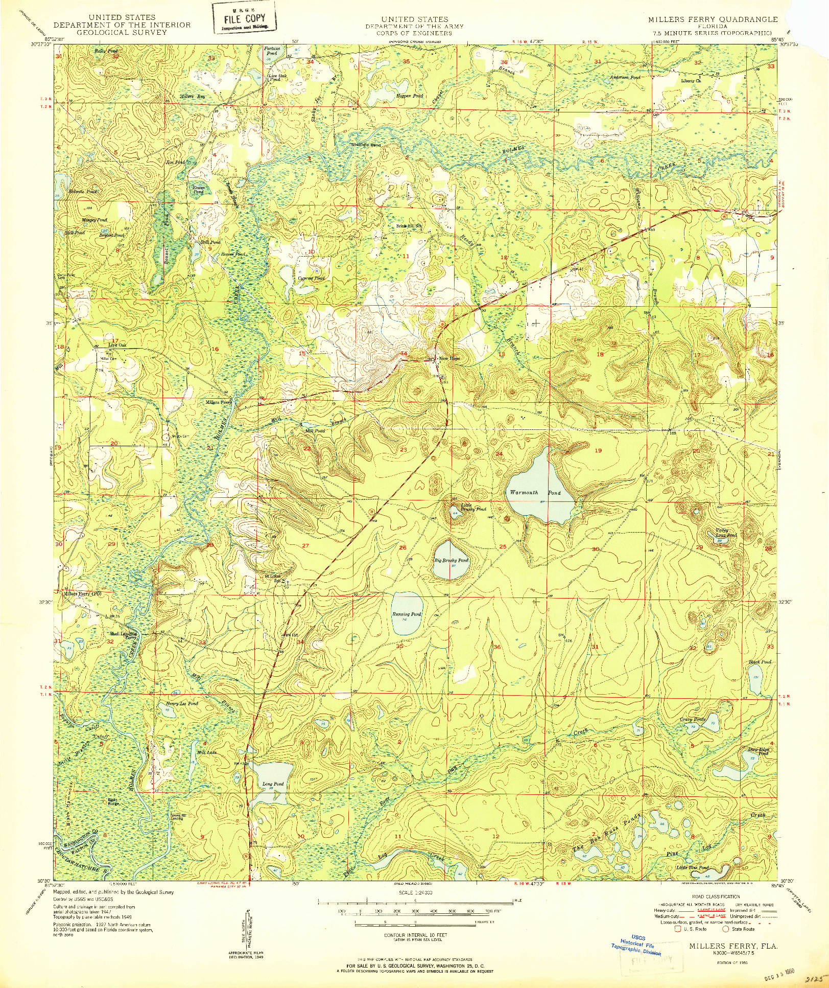 USGS 1:24000-SCALE QUADRANGLE FOR MILLERS FERRY, FL 1950
