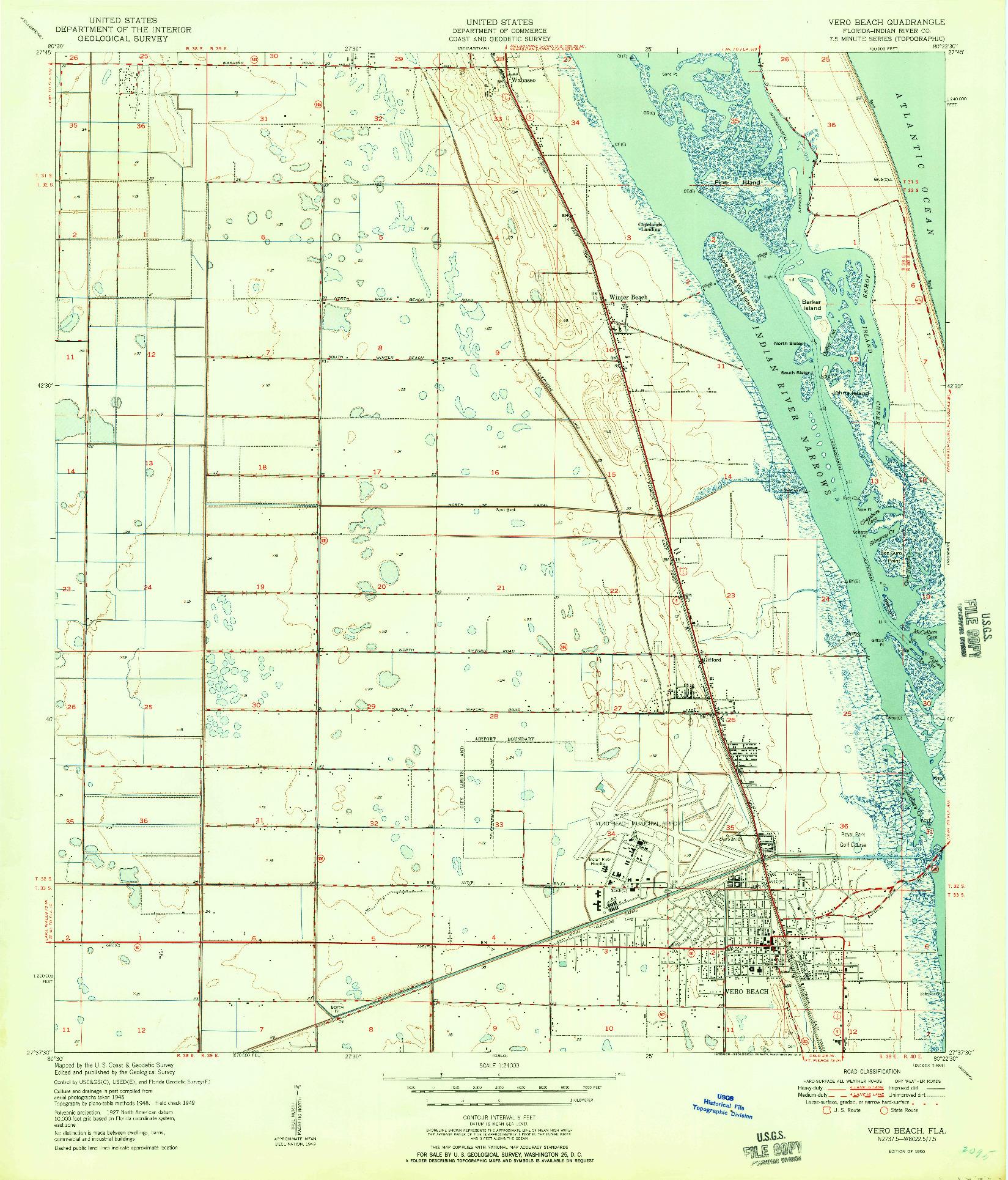 USGS 1:24000-SCALE QUADRANGLE FOR VERO BEACH, FL 1950