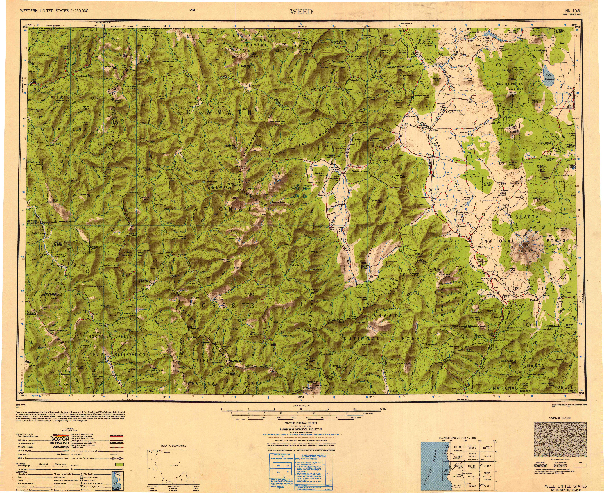 USGS 1:250000-SCALE QUADRANGLE FOR WEED, CA 1950