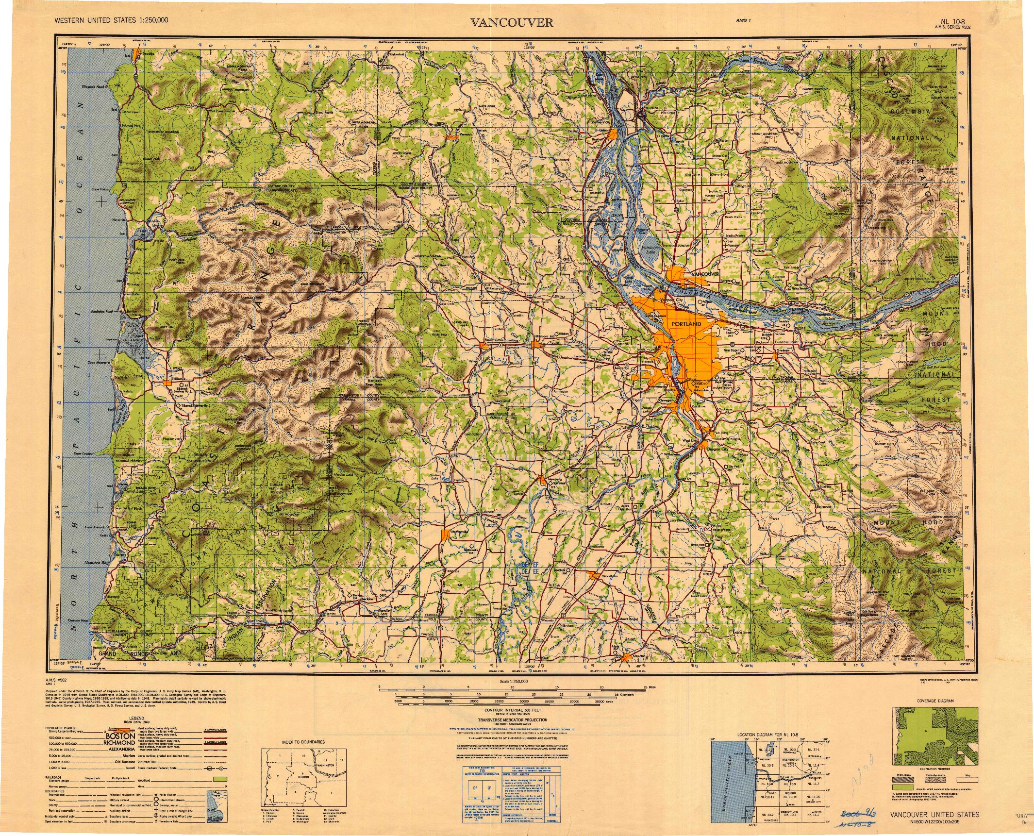 USGS 1:250000-SCALE QUADRANGLE FOR VANCOUVER, WA 1950