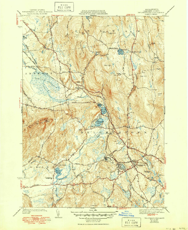 USGS 1:31680-SCALE QUADRANGLE FOR BELCHERTOWN, MA 1943