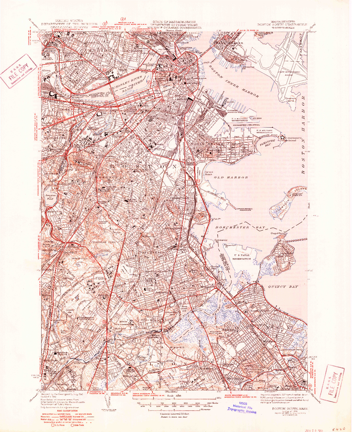USGS 1:31680-SCALE QUADRANGLE FOR BOSTON SOUTH, MA 1946