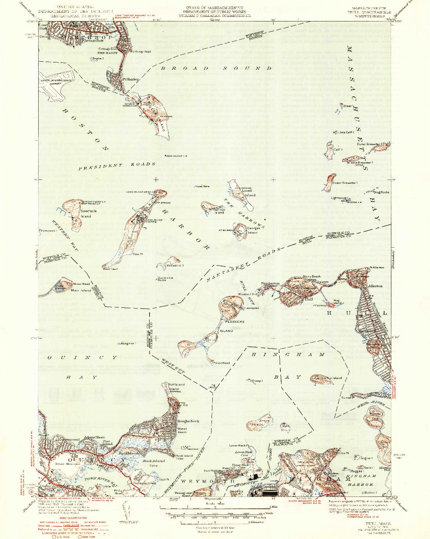 USGS 1:31680-SCALE QUADRANGLE FOR HULL, MA 1946