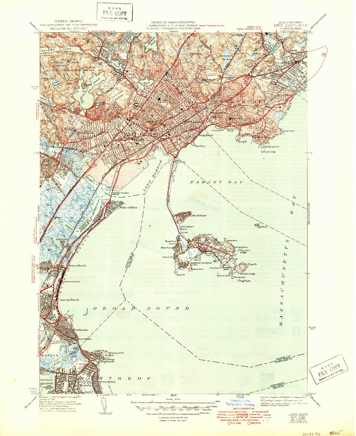 USGS 1:31680-SCALE QUADRANGLE FOR LYNN, MA 1946