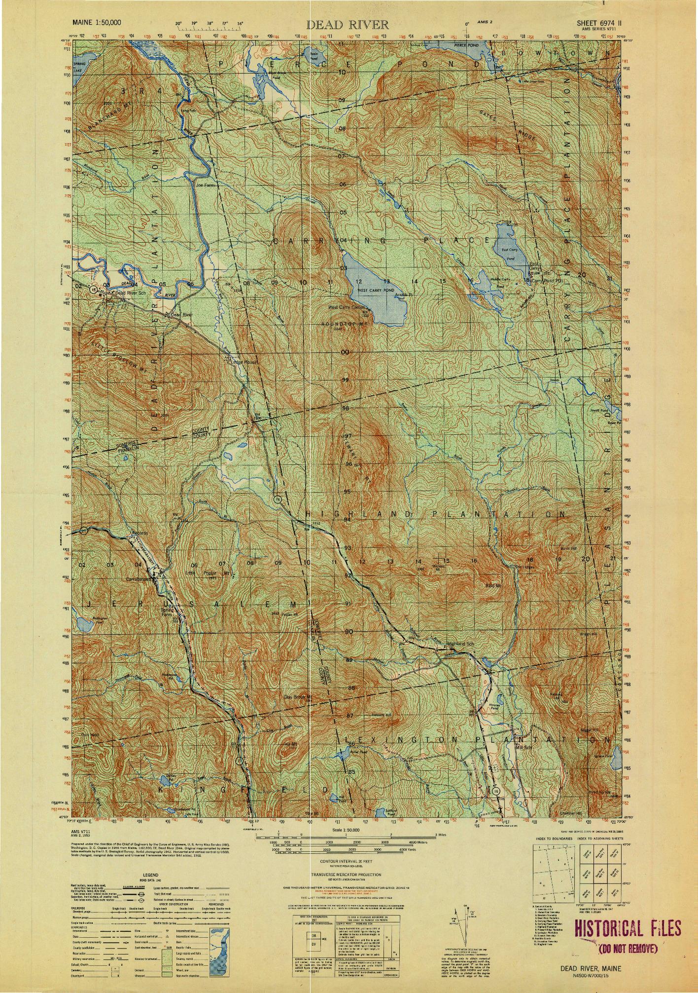 USGS 1:50000-SCALE QUADRANGLE FOR DEAD RIVER, ME 1950