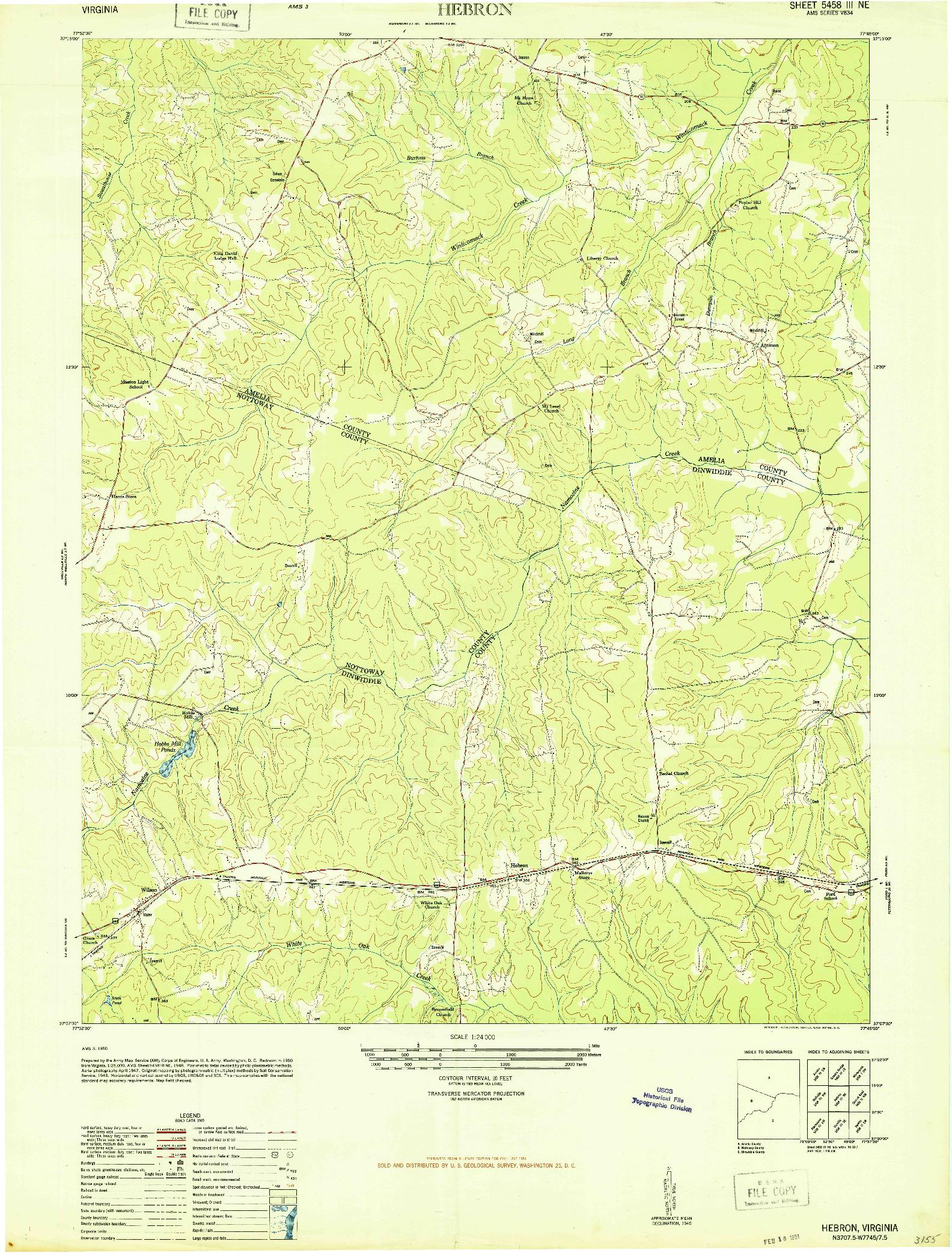 USGS 1:24000-SCALE QUADRANGLE FOR HEBRON, VA 1950
